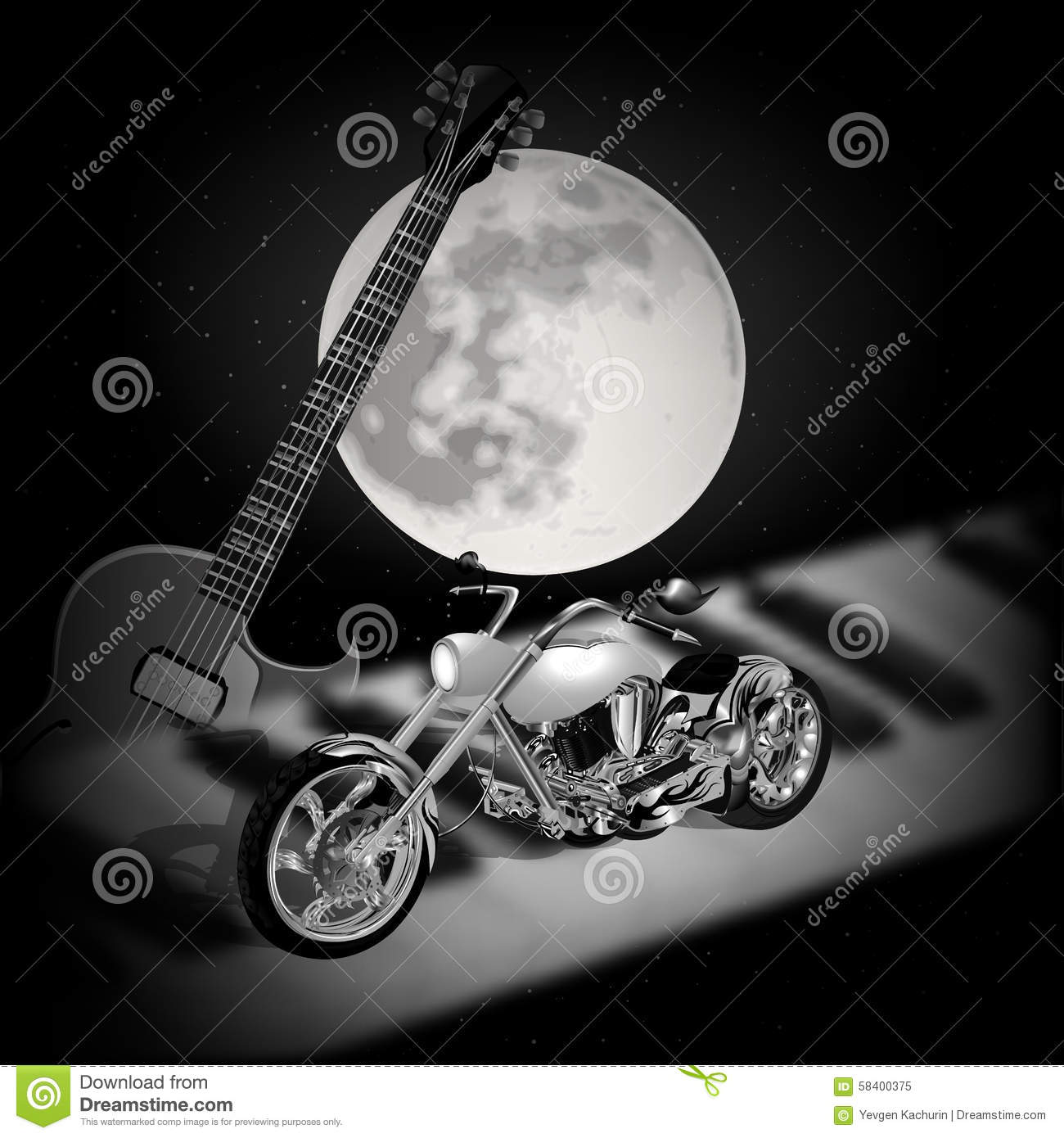 Piano Background Music: Rock Music Background With Moon Stock Vector