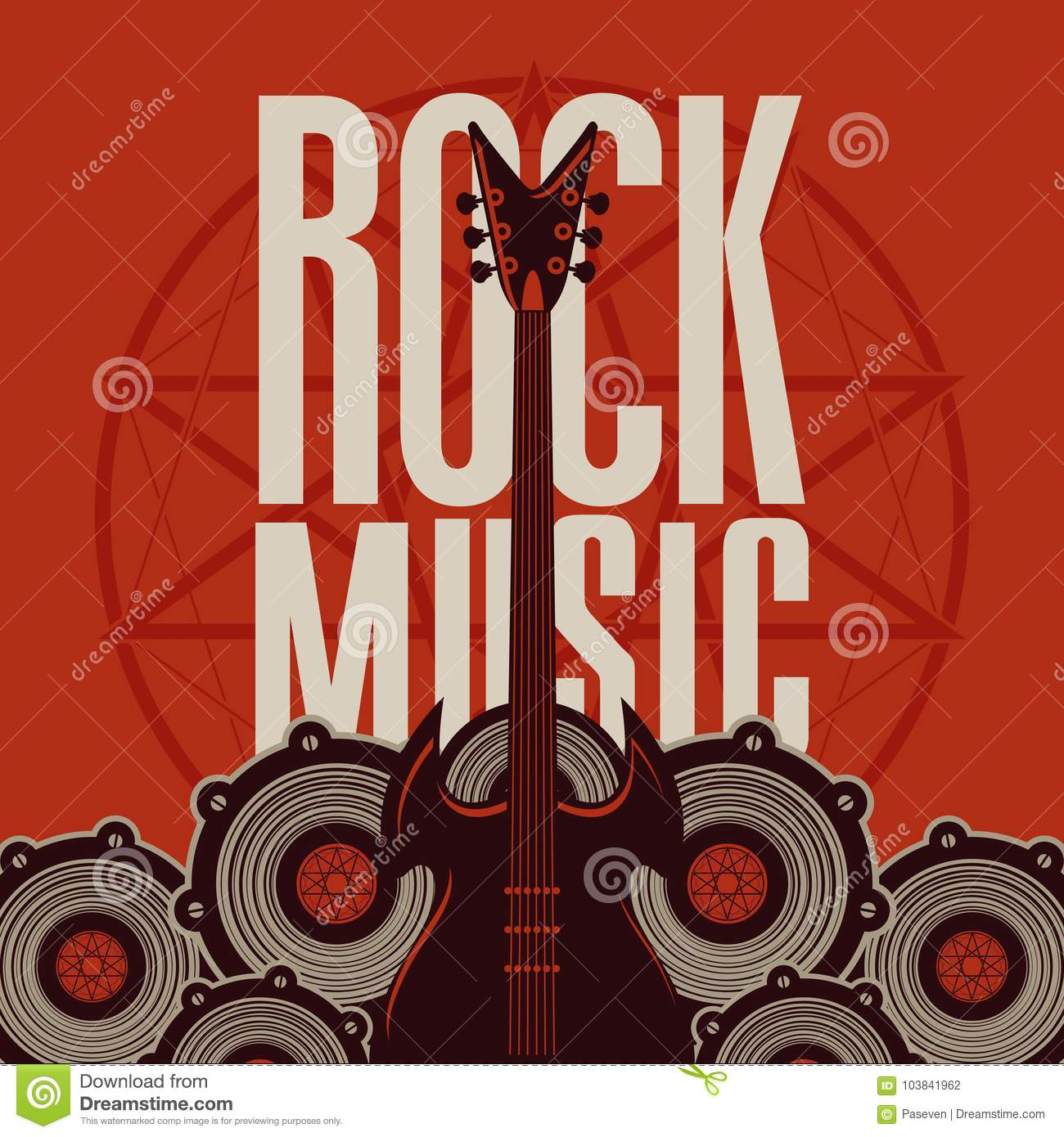 rock music banner with guitar and audio speakers stock vector