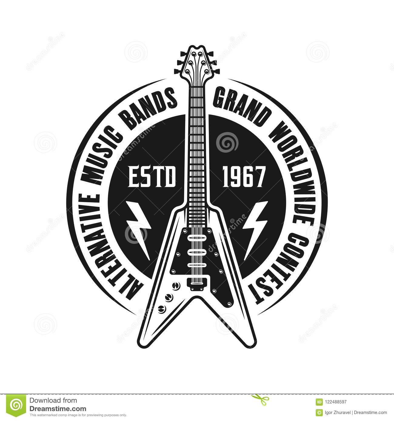 Rock Music Vector Emblem With Electric Guitar Stock Vector