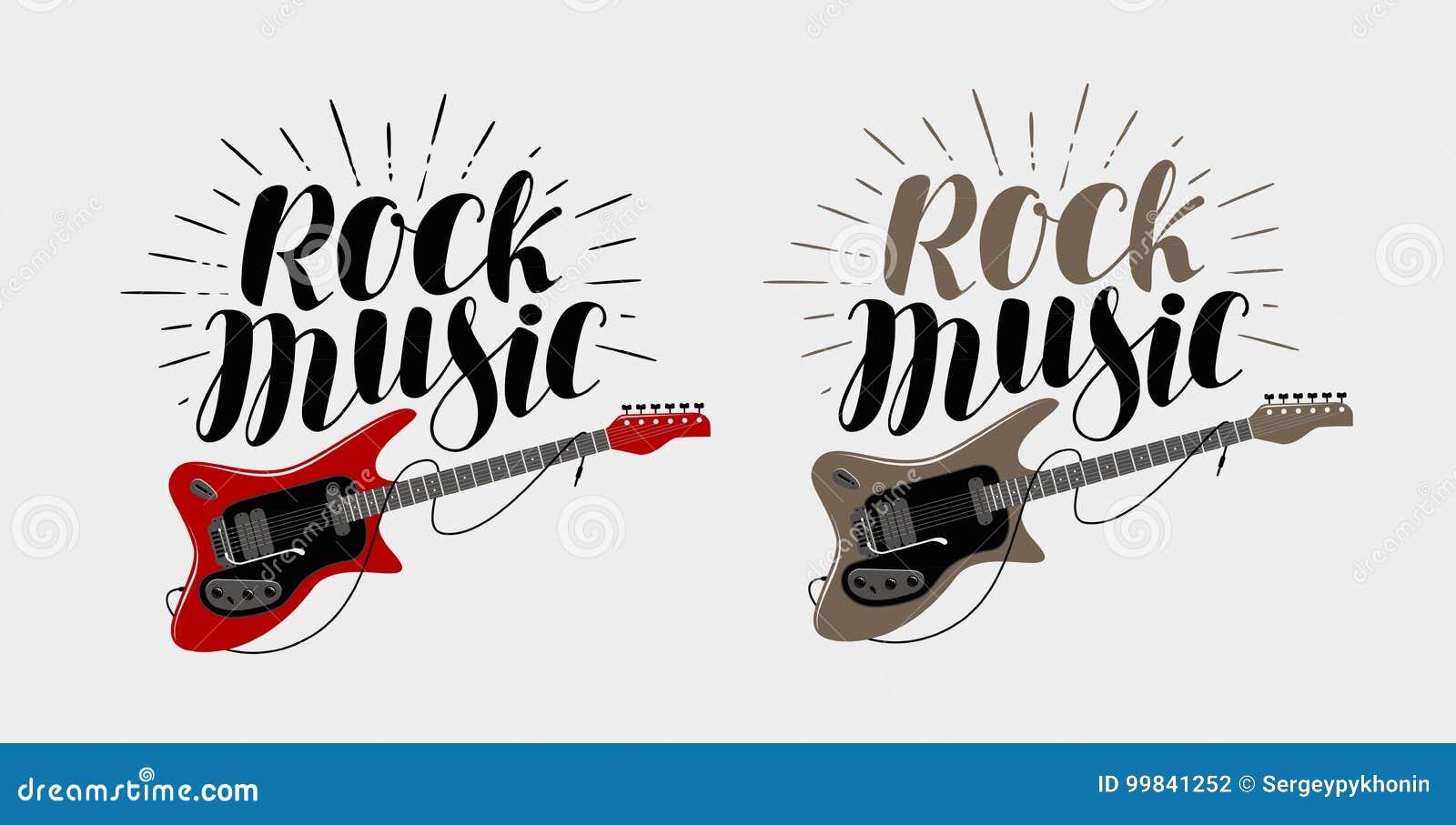 Rock Music Lettering Guitar Musical String Instrument Symbol