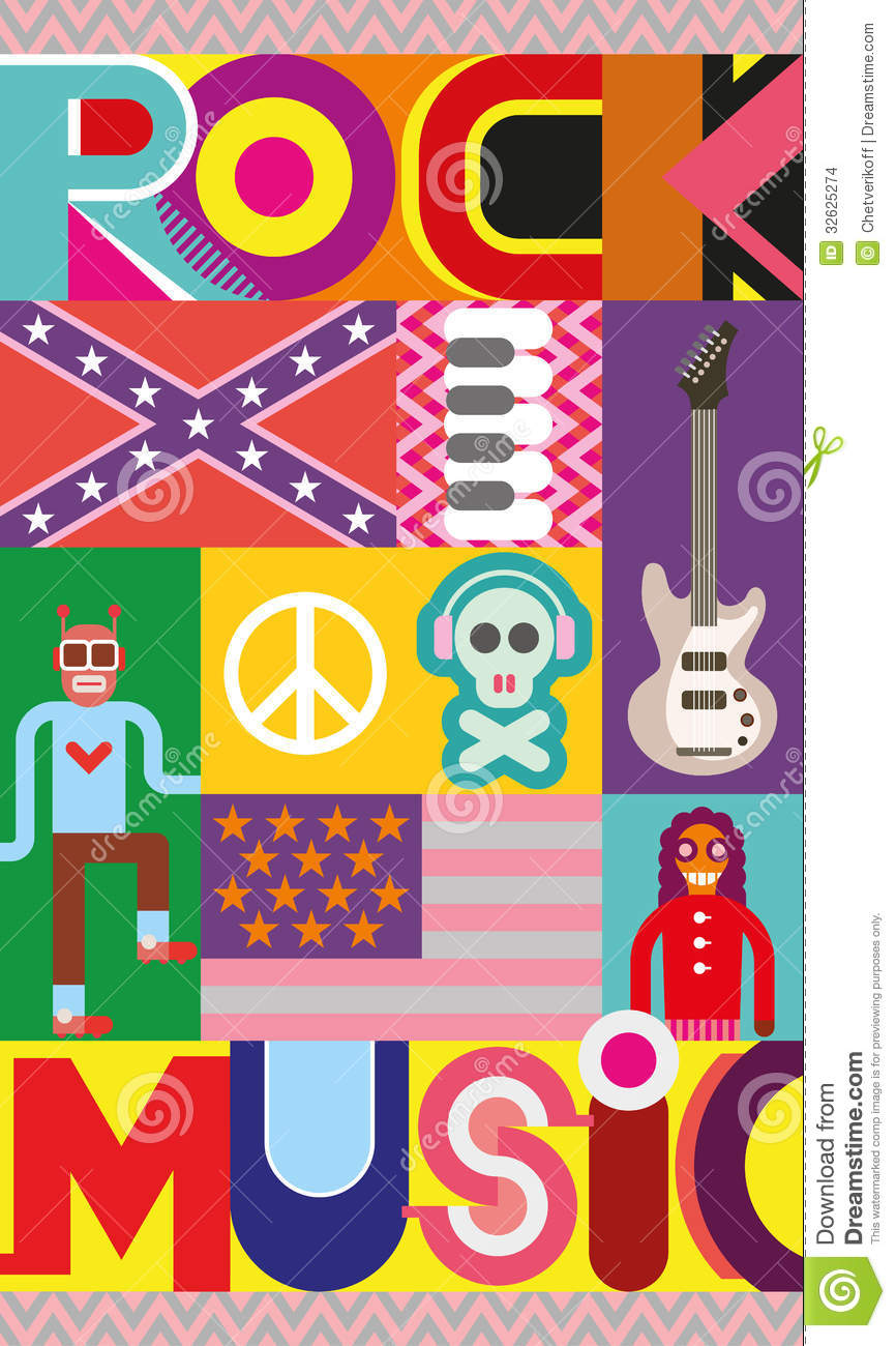 Rock Music Poster Stock Vector Illustration Of Abstract