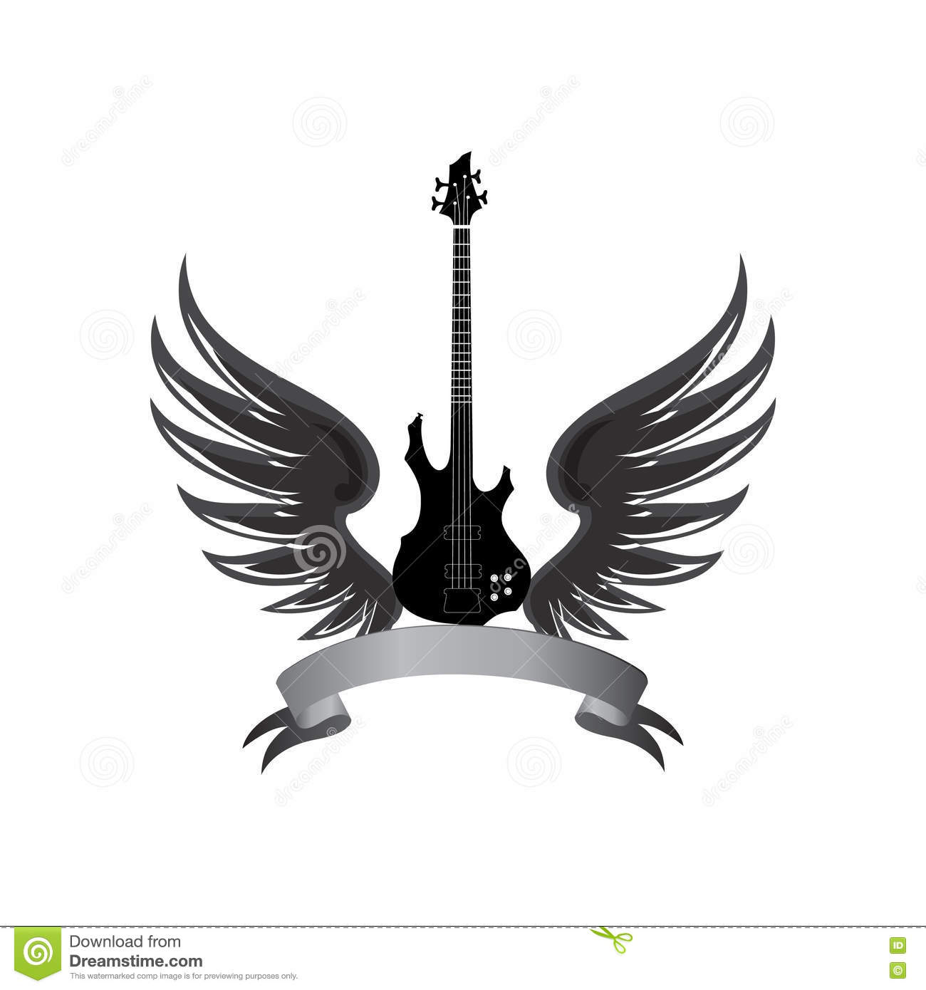 Rock Music Symbol Electric Guitar With Wings And Bow Ribbon For