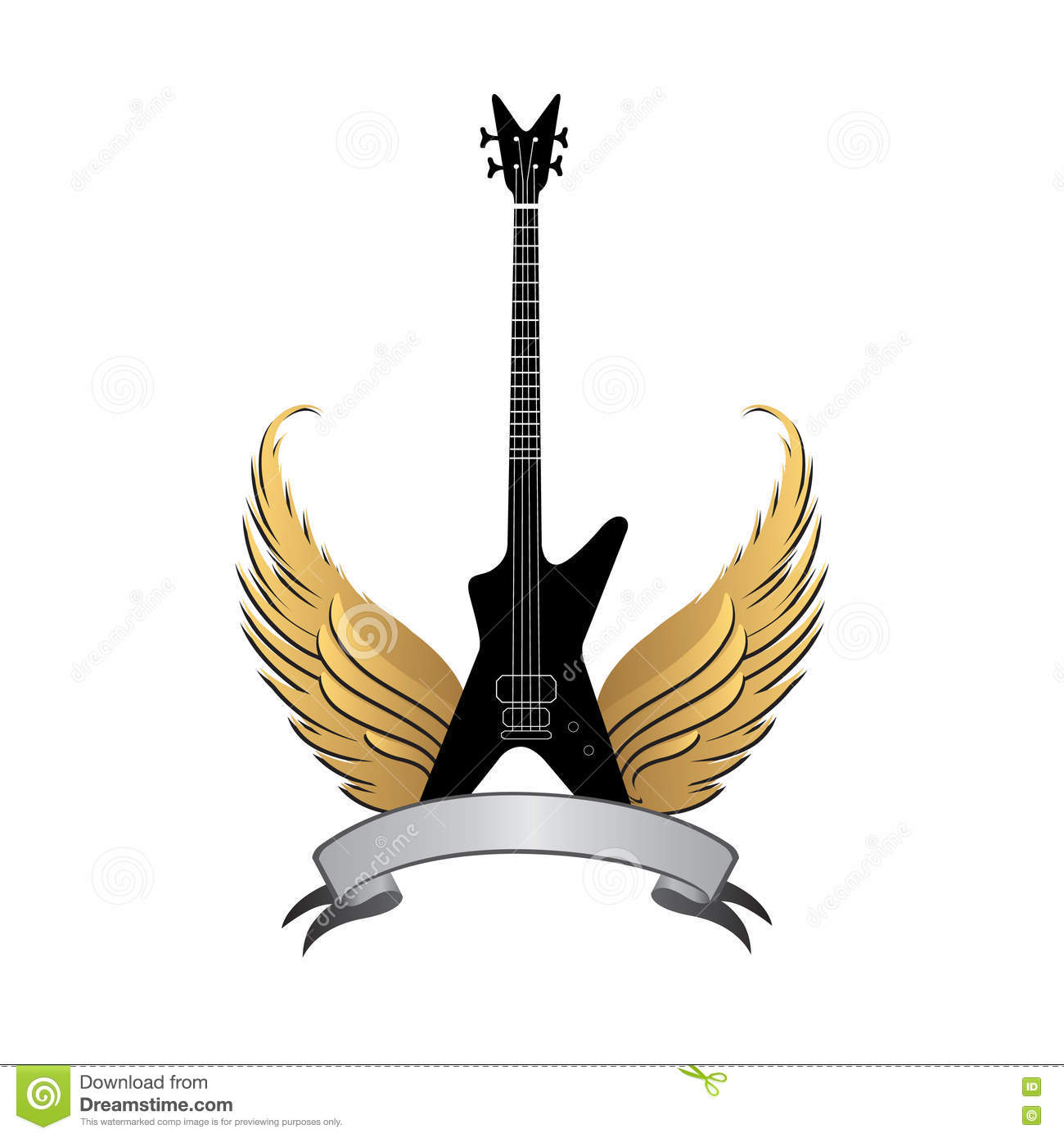 Rock Music Symbol Electric Guitar With Wings And Bow Ribbon Stock