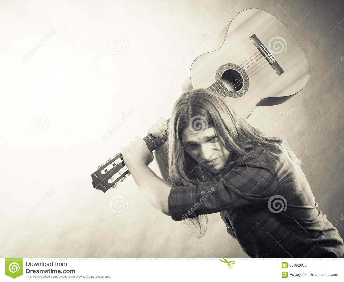 Rock Musician Destroys His Guitar Stock Image Image Of Emotions