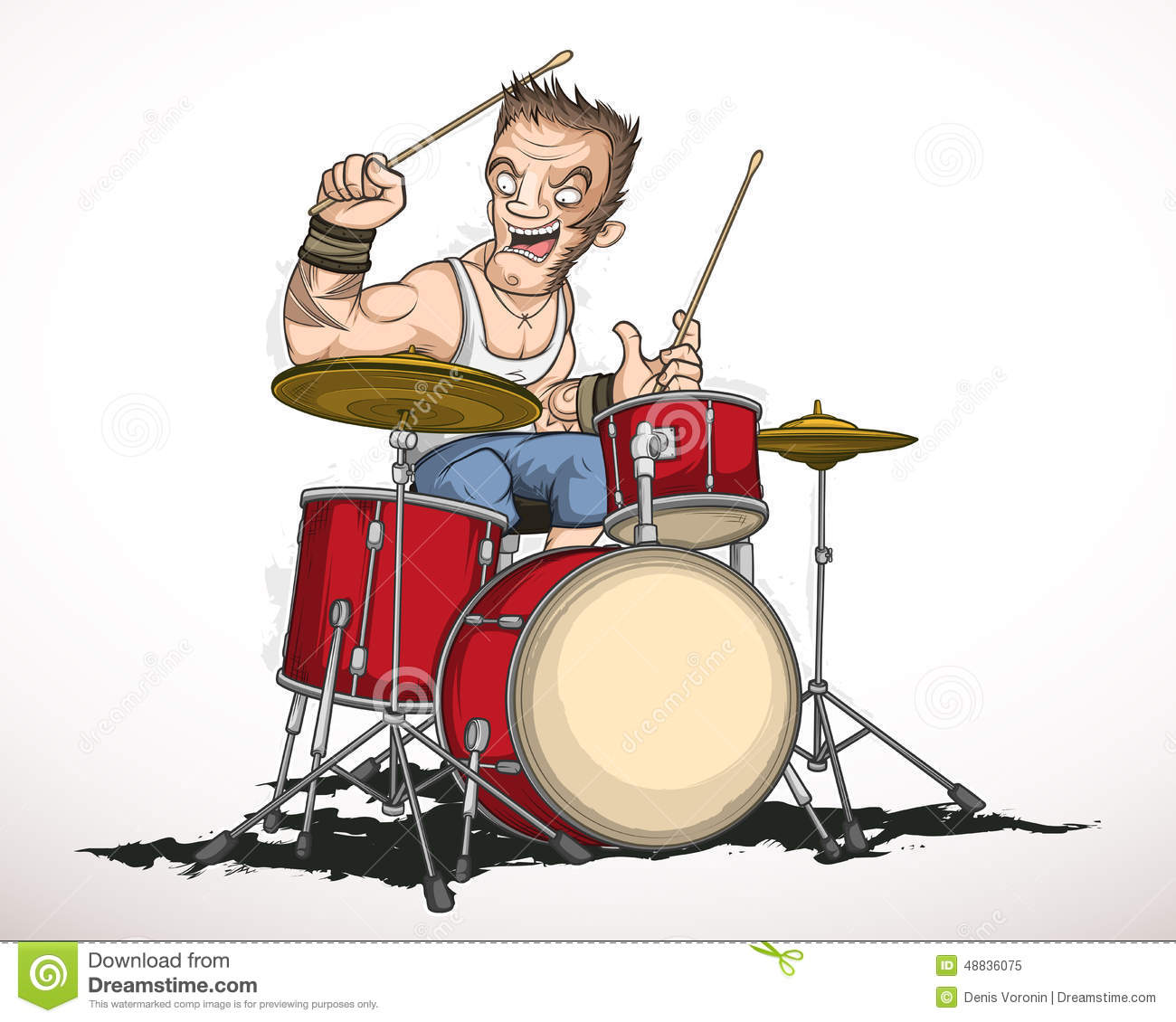 Illustration rock musician drummer famously plays the drums.