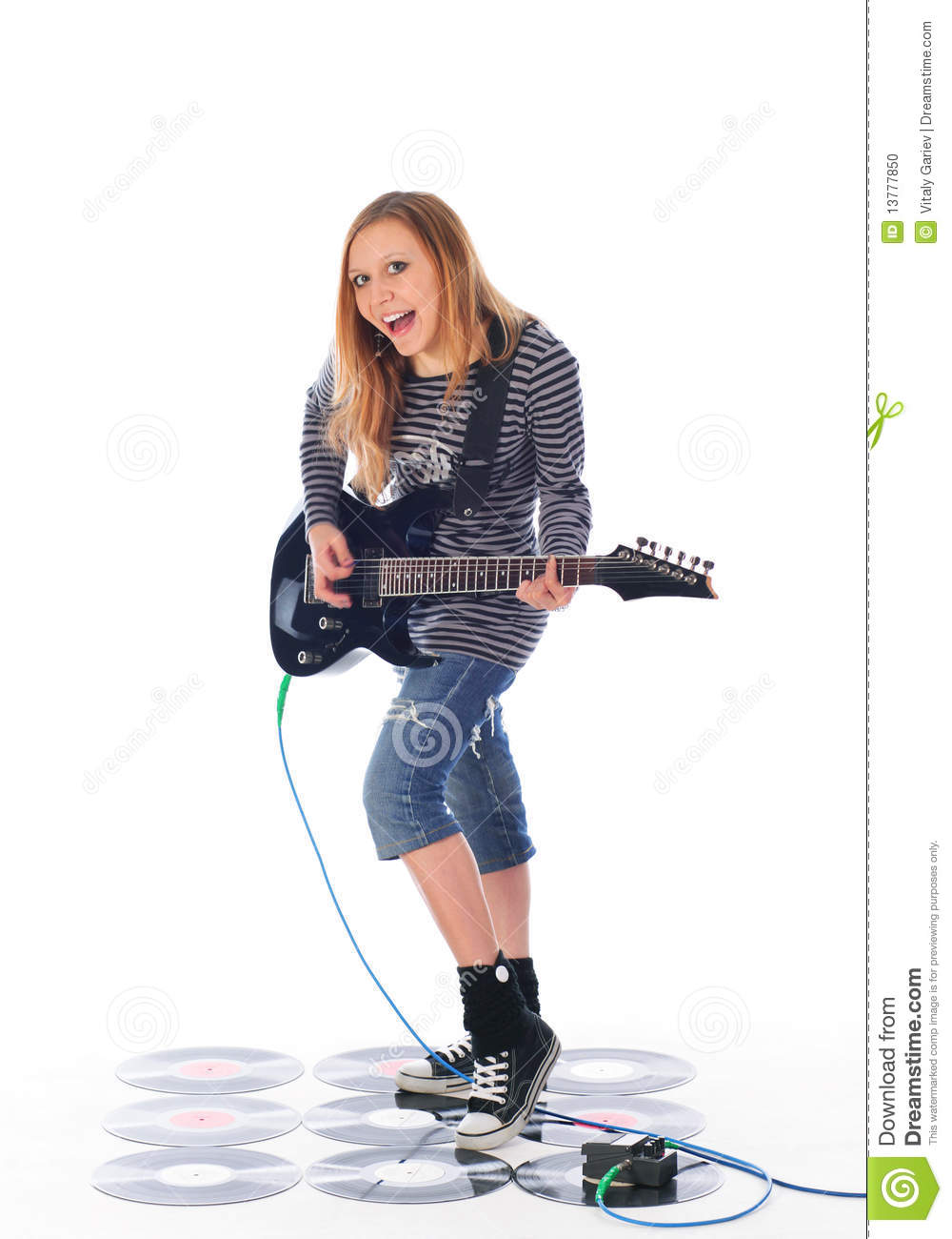 rock 39 n 39 roll girl play guitar stock photo image of perfomance musical 13777850. Black Bedroom Furniture Sets. Home Design Ideas