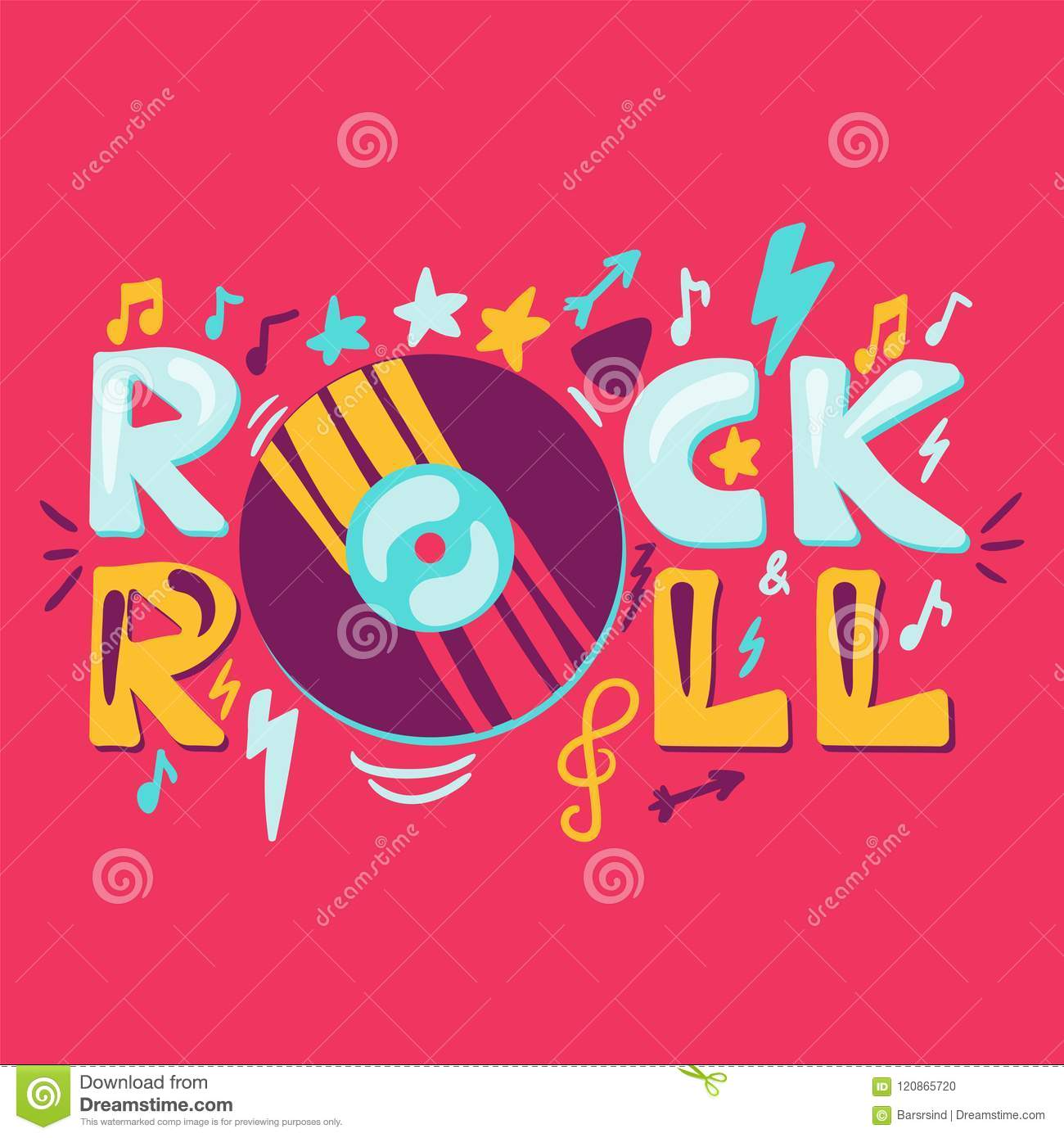 Rock N Roll Label With Vinyl Stock Vector Illustration Of