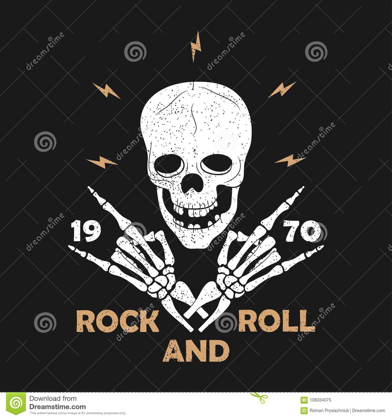 Rock-n-Roll music grunge typography for t-shirt. Clothes design with skeleton hands and skull. Graphics for clothes print, apparel