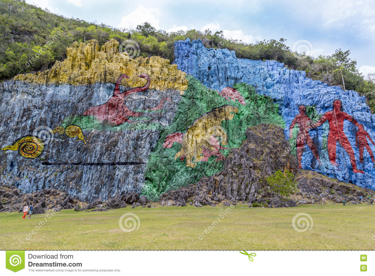Rock painting in vinales cuba editorial photo image Mural de la prehistoria cuba