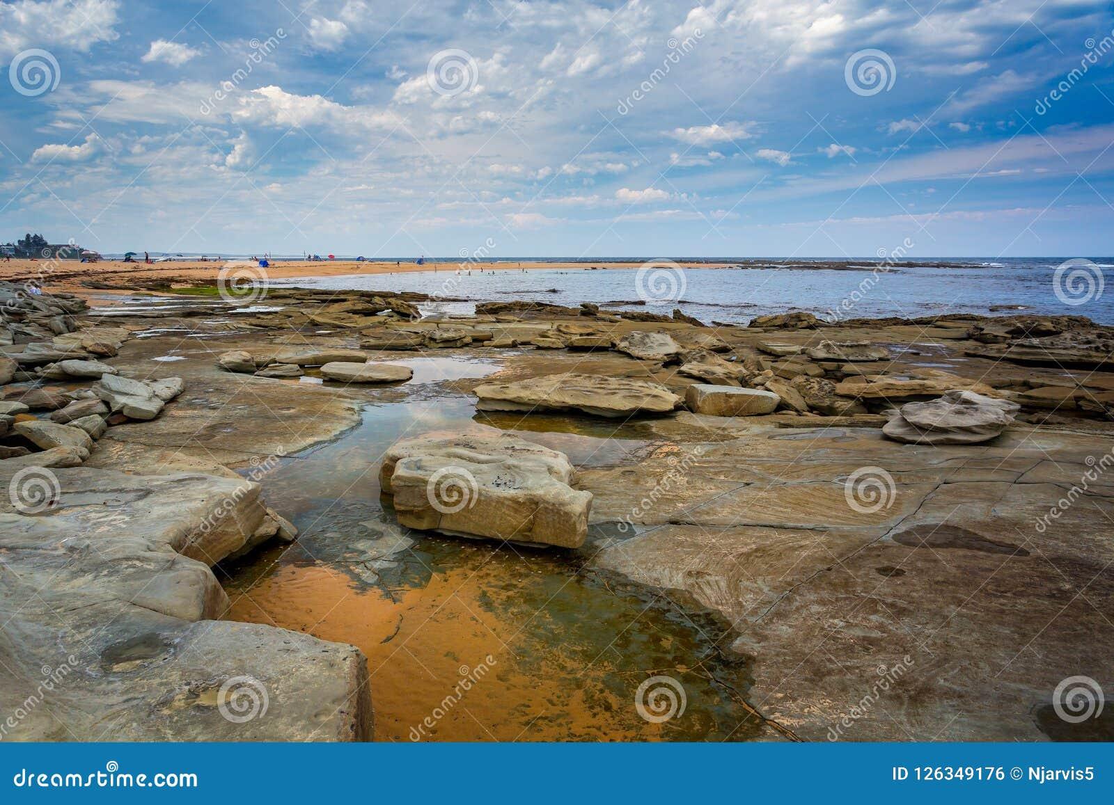 Rock Pools At Toowoon Bay Beach Near Sydney Stock Photo