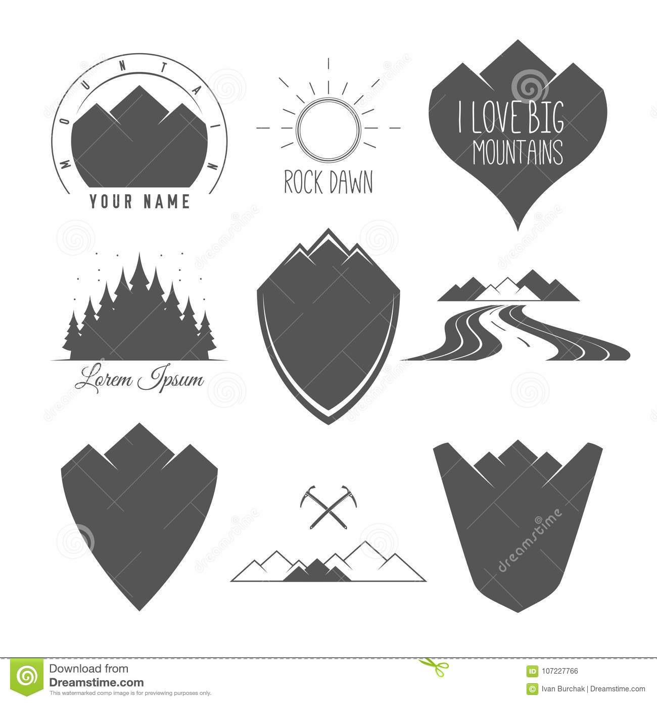Rock Road - Shield - Forest And Sun - Set Of Silhouette Vector