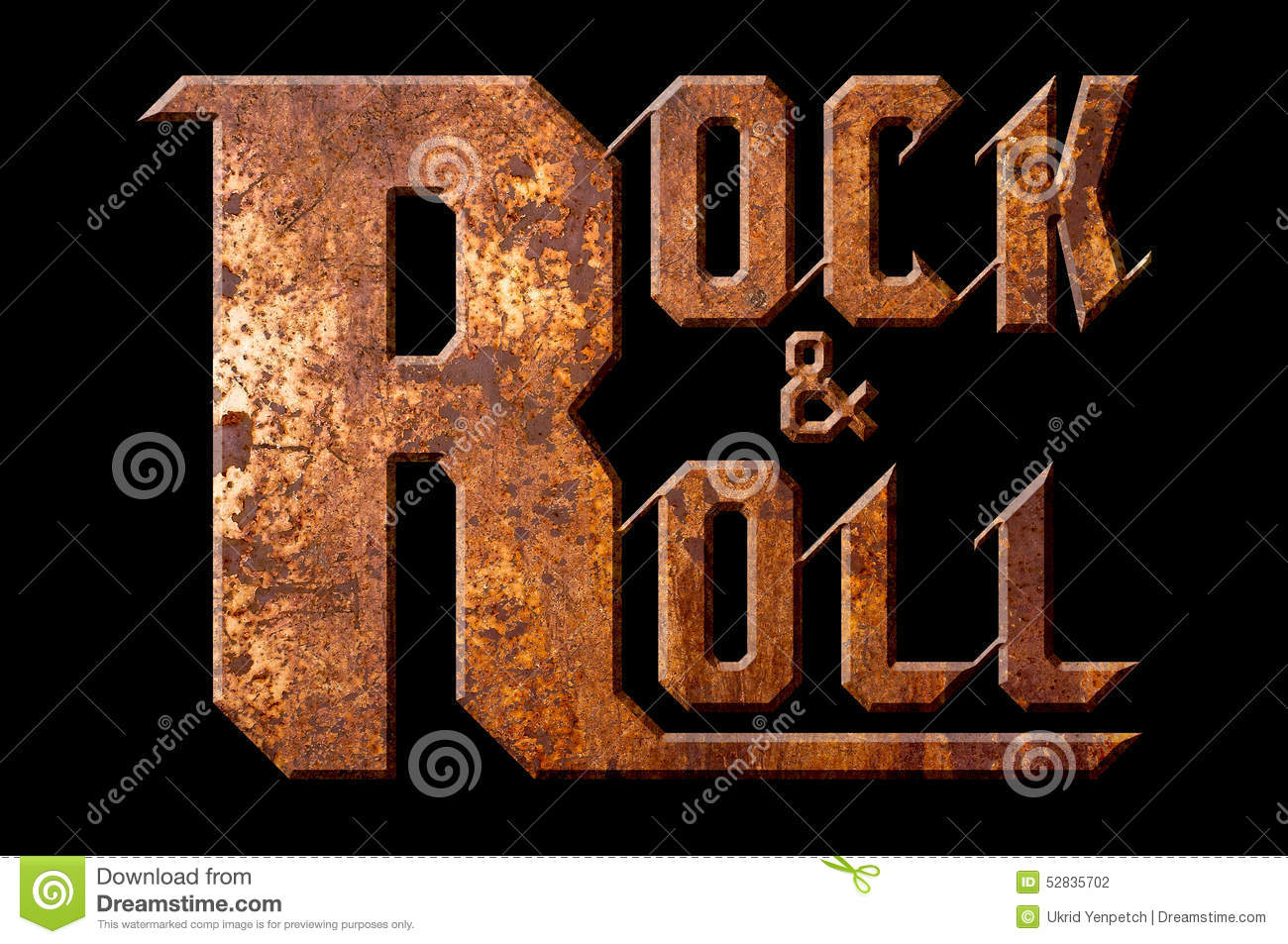 Rock And Roll Concept Isolated On Black Background Stock ...