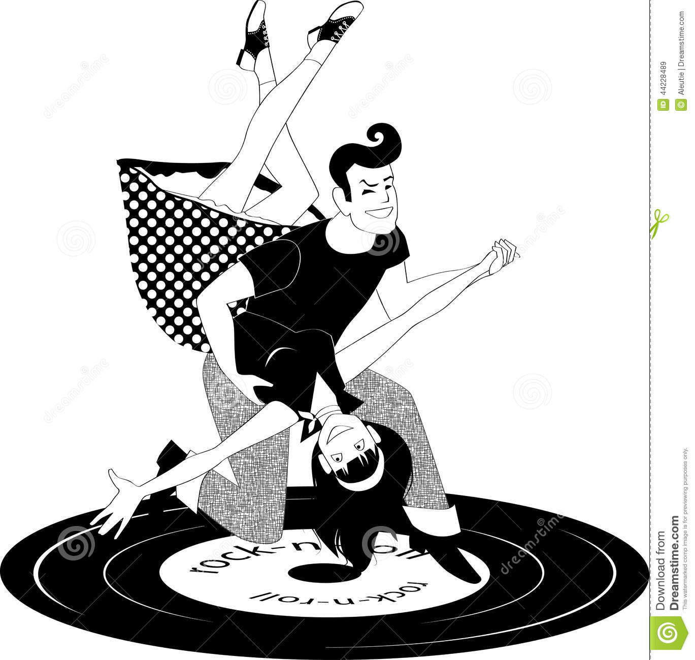 ... clothes dancing rock'n'roll, vector black and white illustration