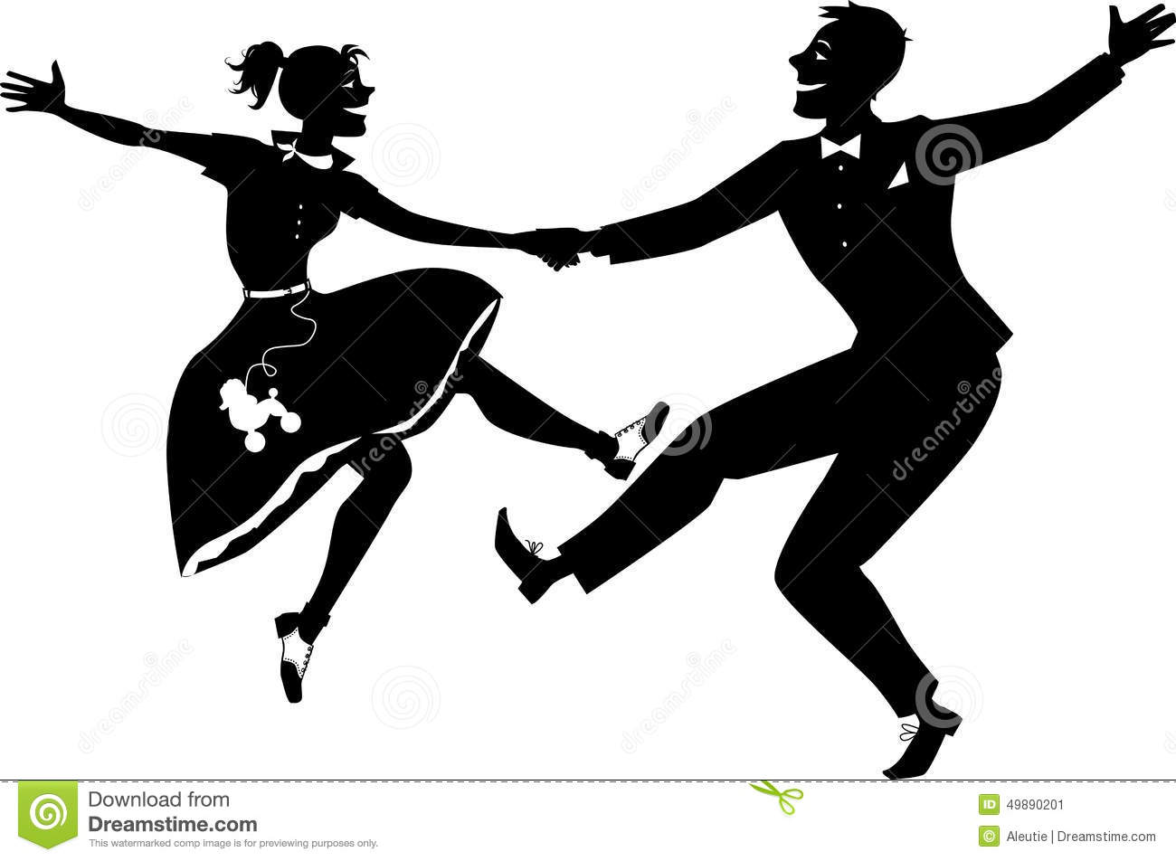 Black vector silhouette of a couple dressed in 1950s fashion dancing ...