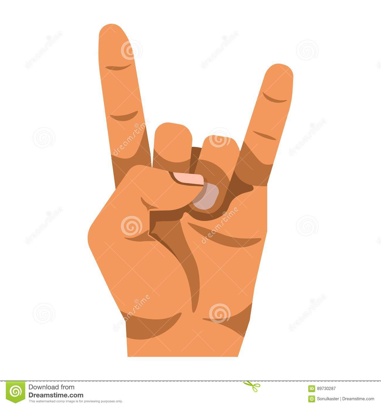 Rock And Roll Gesture Hand Sign Isolated On White Background Stock ...