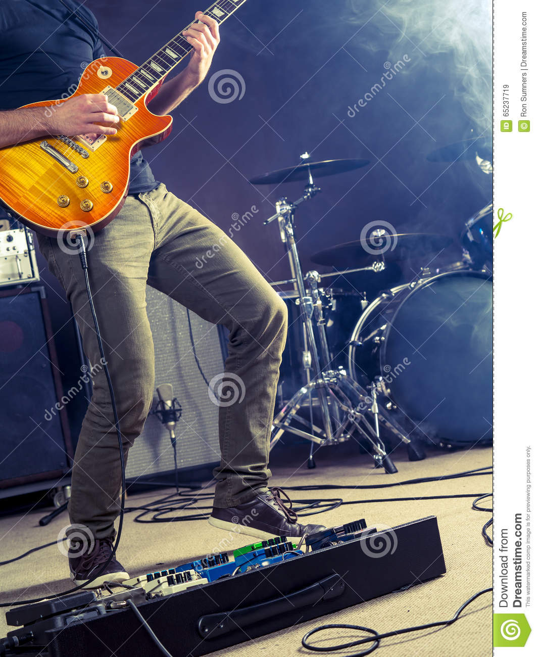 Rock And Roll Guitar Player On Stage Stock Photo - Image ...