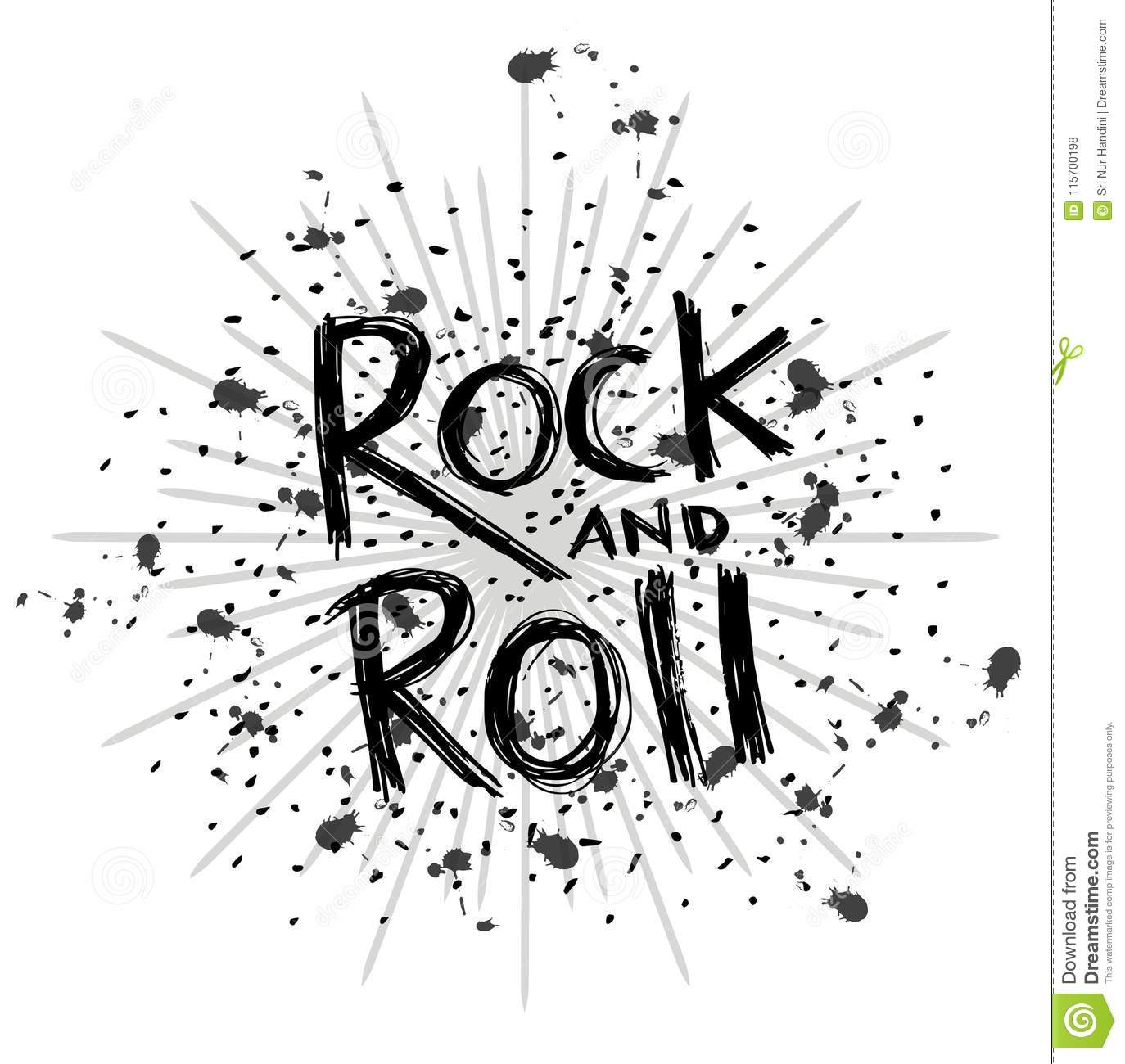 Rock And Roll Hand Lettering Stock Illustration