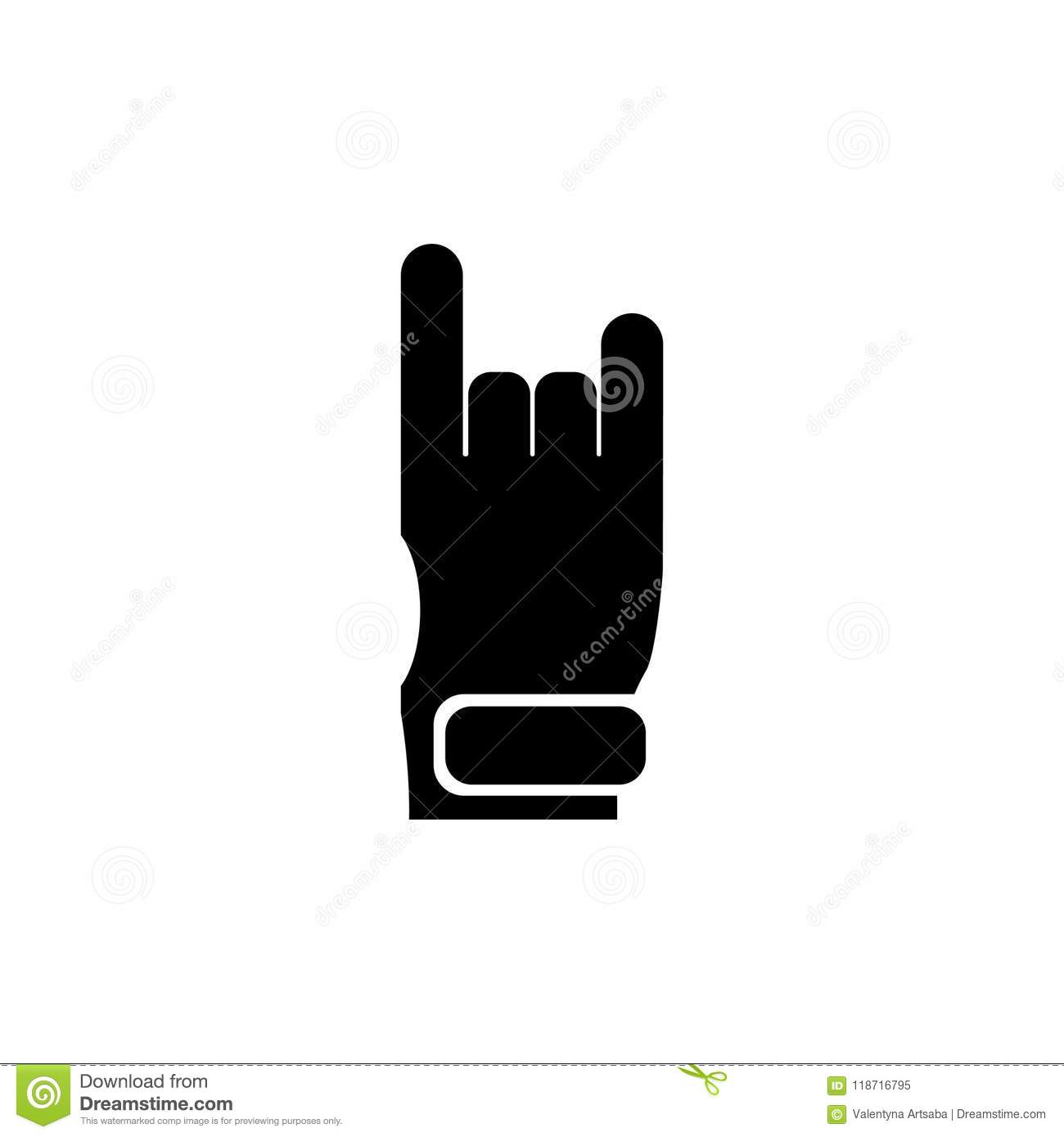 Rock And Roll Heavy Metal Hand Horns Flat Vector Icon Stock Vector