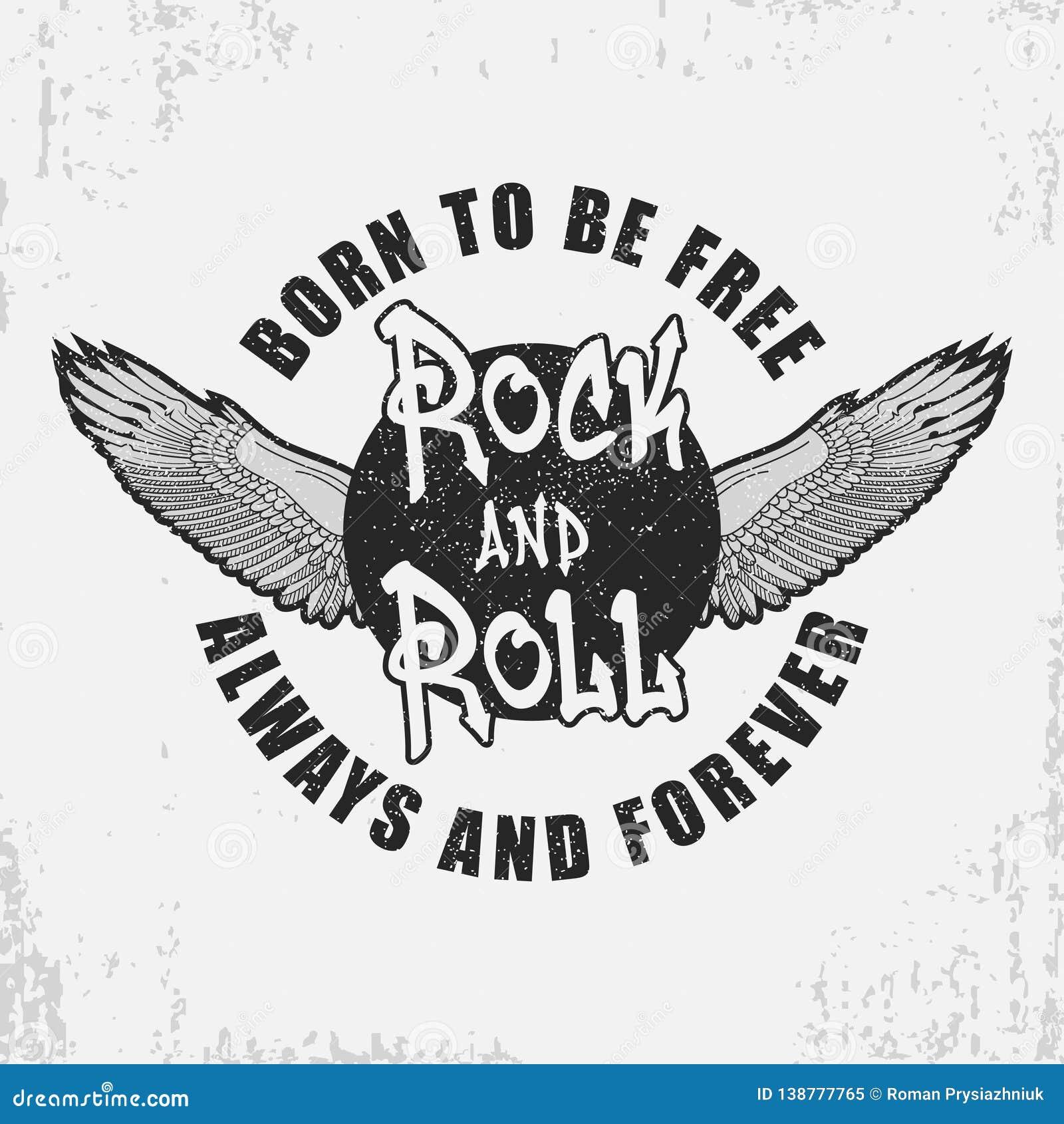 Rock and roll koszulki projekt z skrzydłami i grunge rolki typografii grafika dla trójnik koszula z sloganem Odzież druk