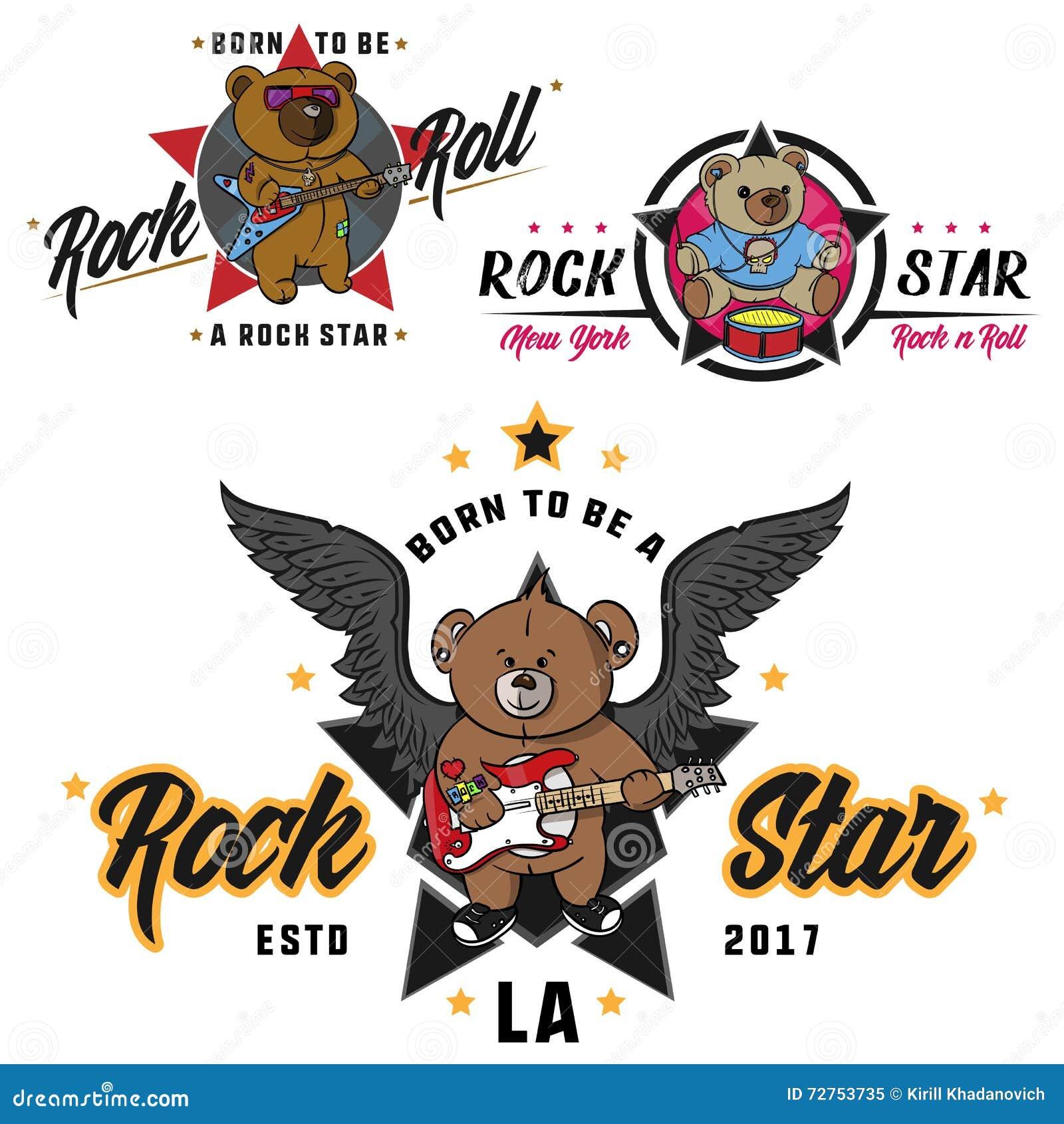 Rock And Roll Miś Dla Dziecko Rysującego Bohatera Druku Dla