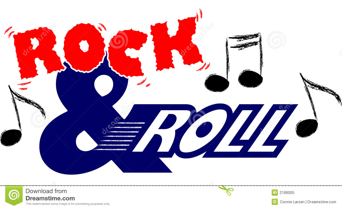 Stylized illustration representing rock and roll music...part of a ...