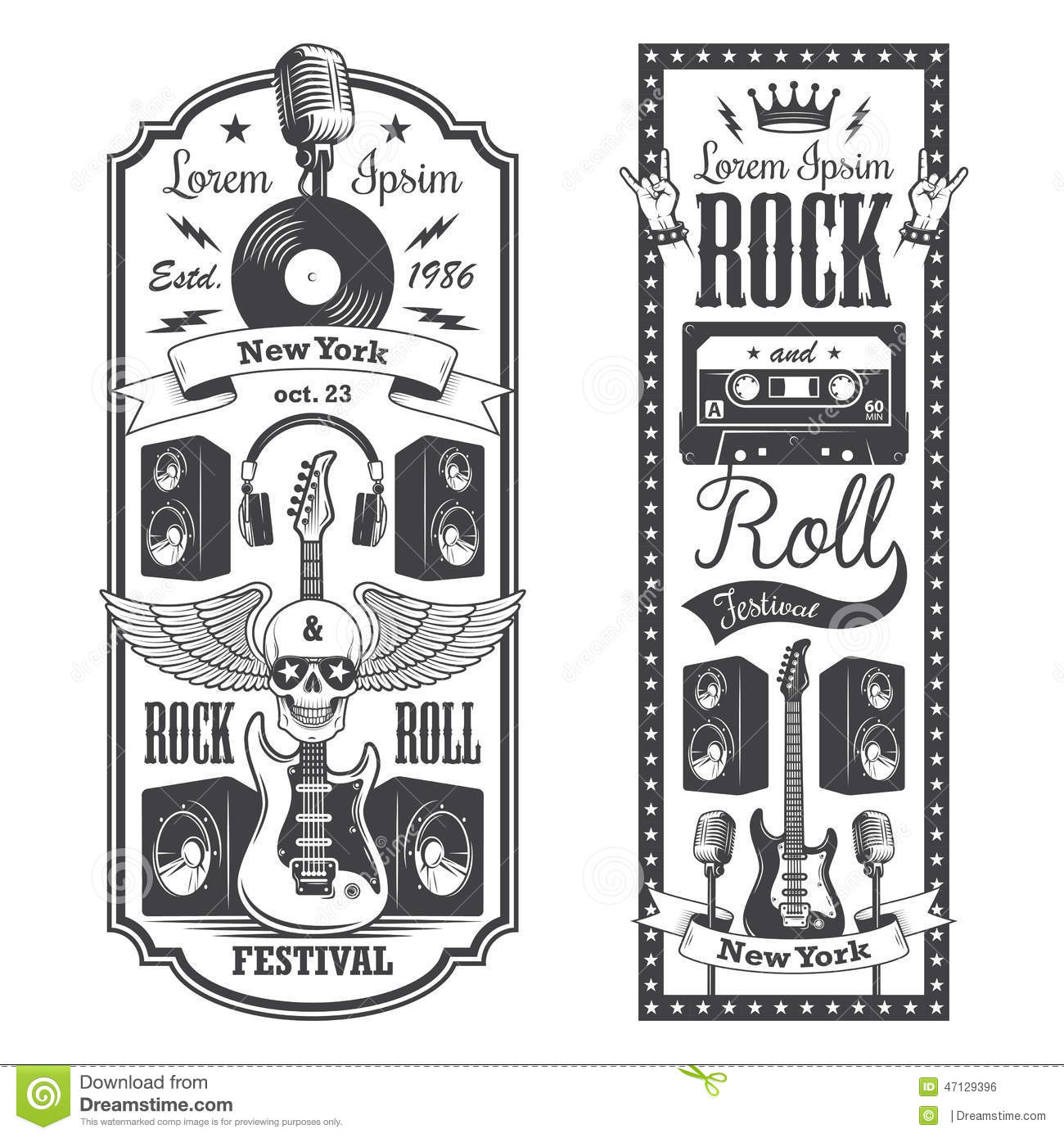 2 rock and roll music flayer covers stock vector. Black Bedroom Furniture Sets. Home Design Ideas