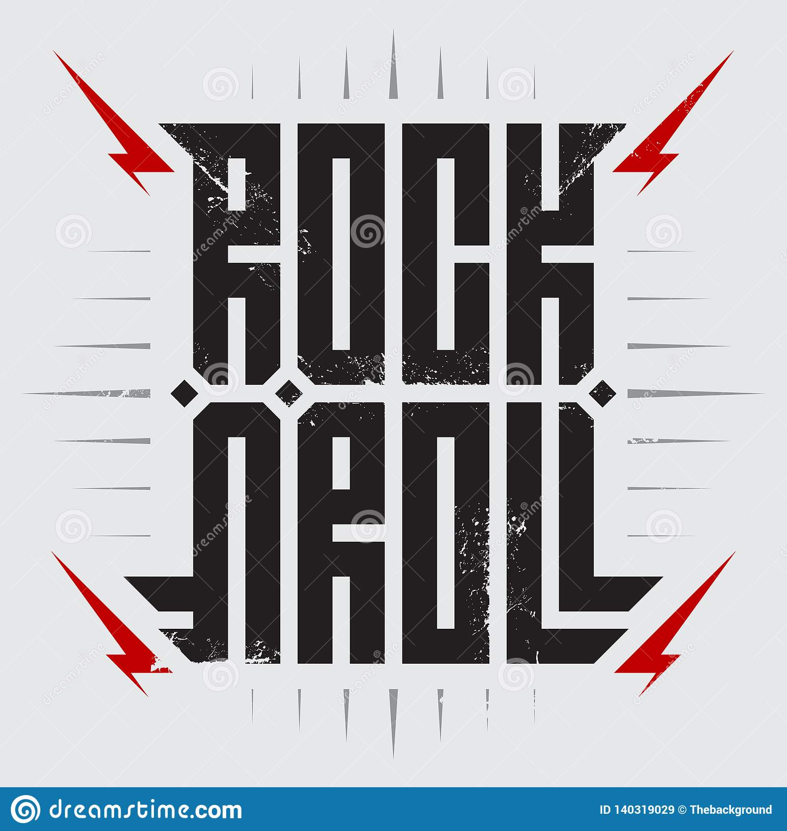Rock and roll - music poster with red lightnings. Rock `n `roll - t-shirt design. T-shirt apparels cool print