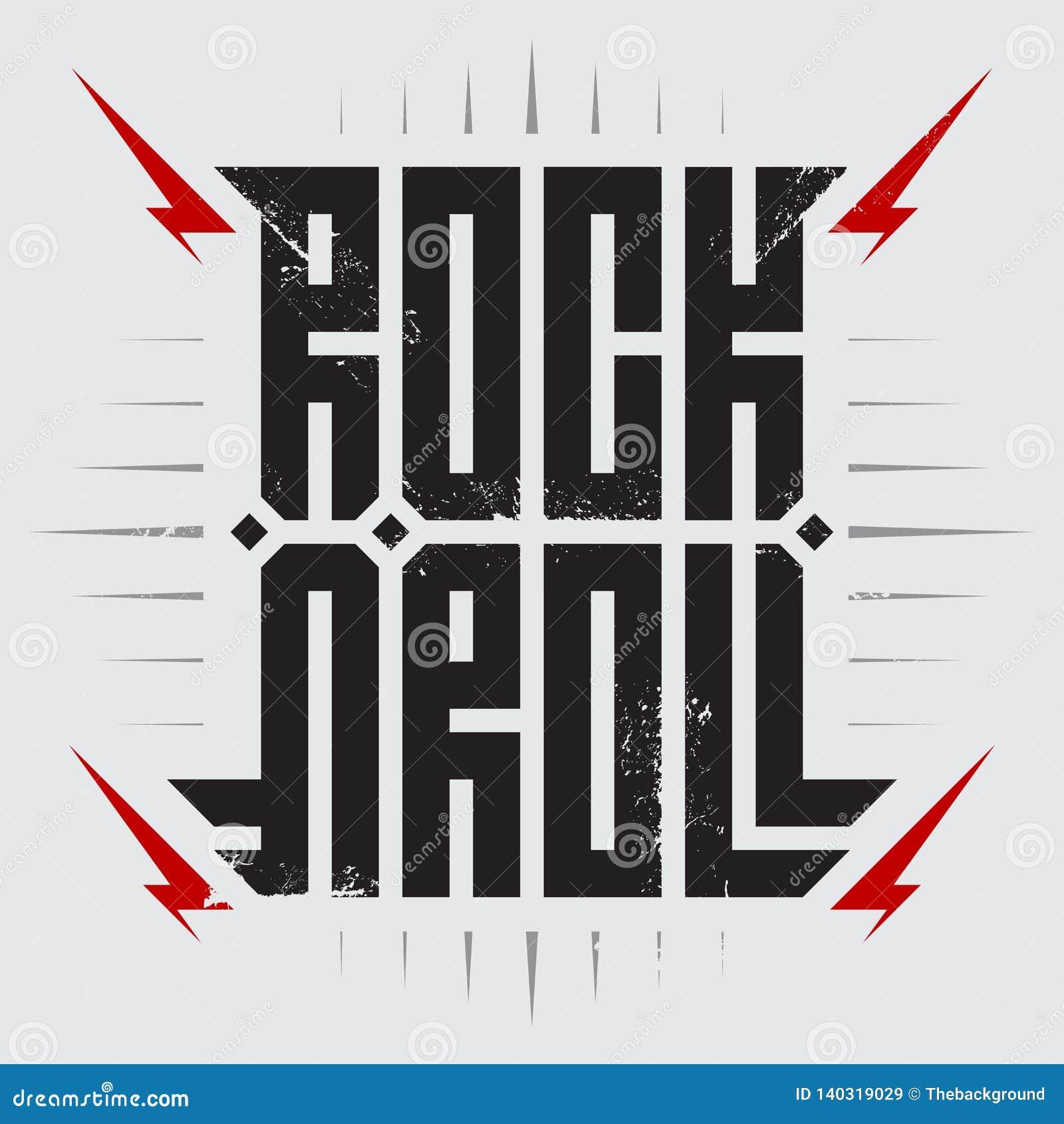 Rock and roll - muzyczny plakat z czerwonymi błyskawicami Rock and roll - koszulka projekt Koszulek apparels cool druk
