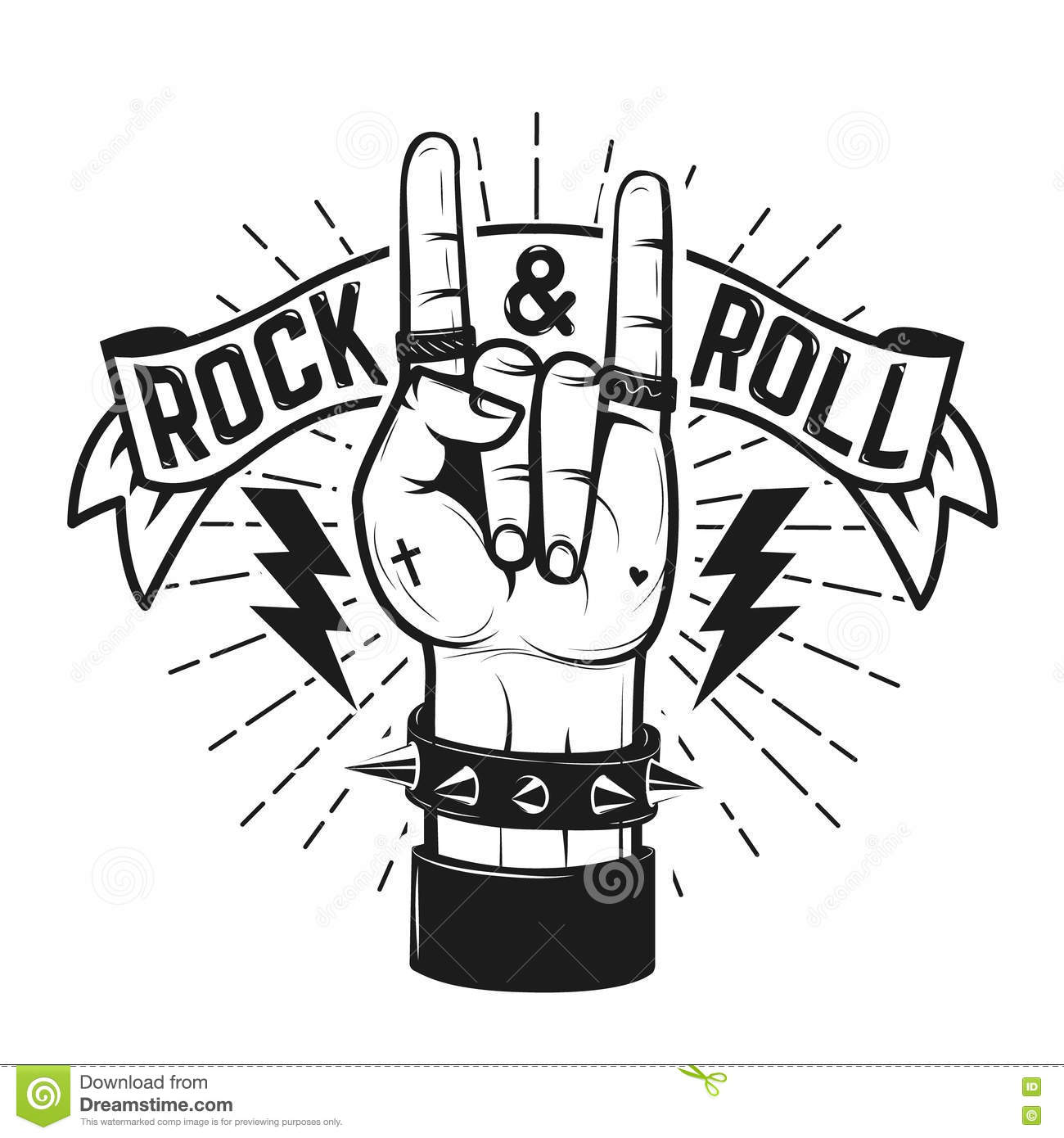 Rock And Roll Sign Human Hand With Heavy Metal Sign