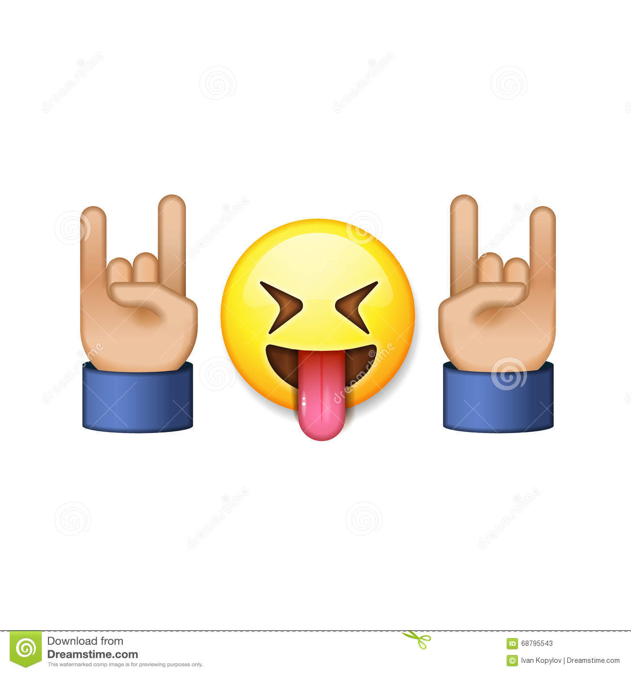 Rock And Roll Sign, Smiling Emoji Icon Stock Vector - Image: 68795543