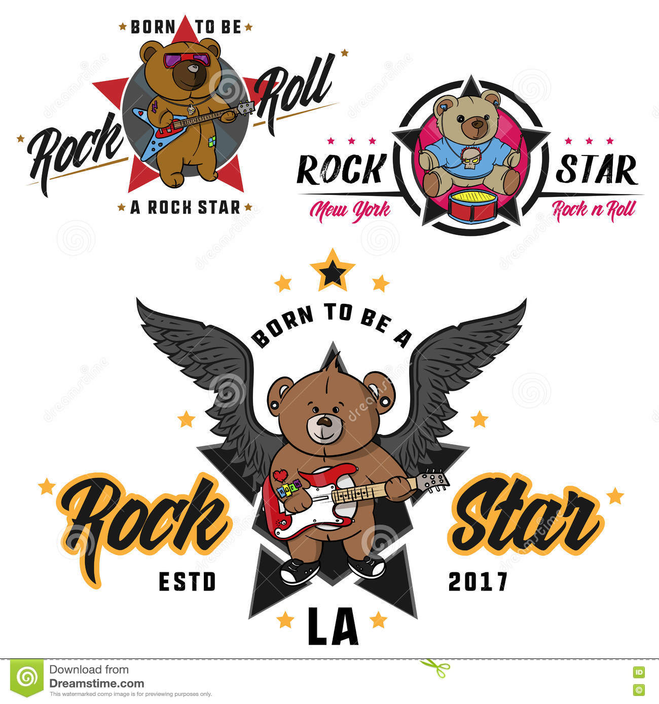 d945f2f15 Rock and roll Teddy bear for children drawn hero, print for t shirts,  stickers and labels, tattoo. Gentle, sleep. Royalty-Free Vector
