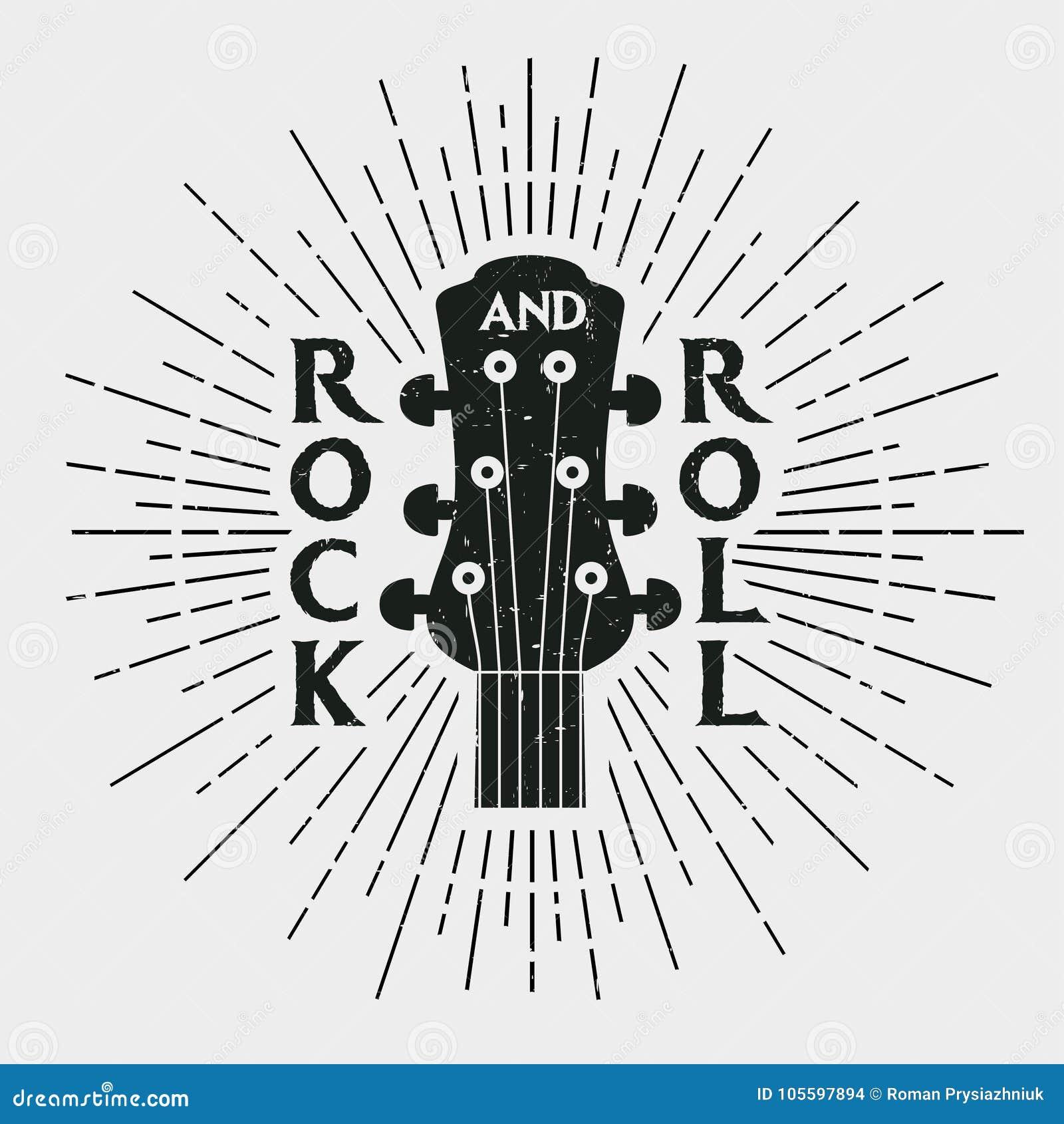 Rock and roll znaczek z gitarą Graficzny projekt dla odziewa, koszulka,