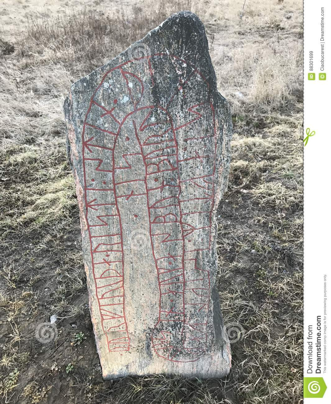 Rock Runestone Norrkoping Ostergotland Sweden Stock Image Image Of Vikings Considered 88301699