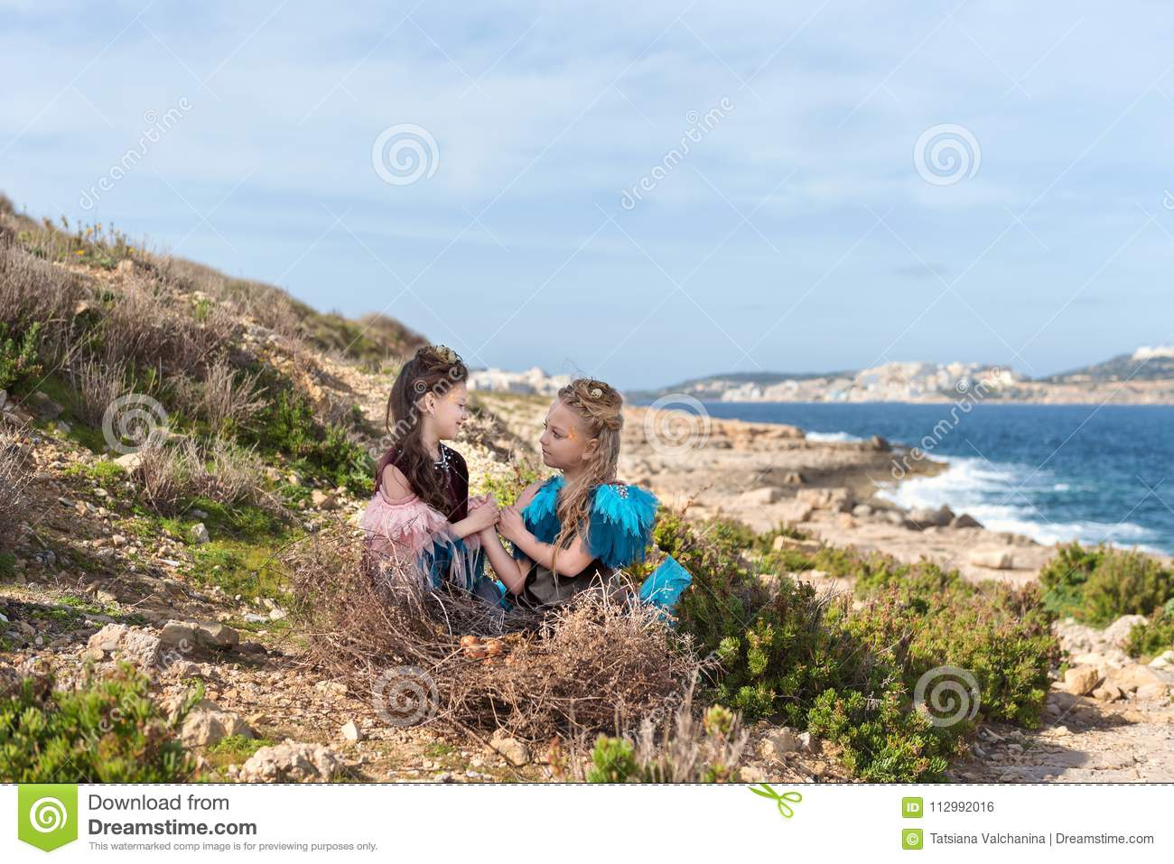 On a rock on the seashore in a huge nest with eggs sit two girls dressed in fairy birds hold hands and look eyes in the eyes