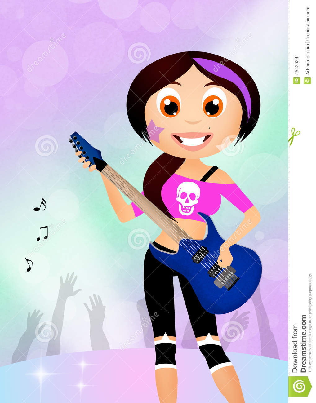 Girl Rock Star Playing Guitar