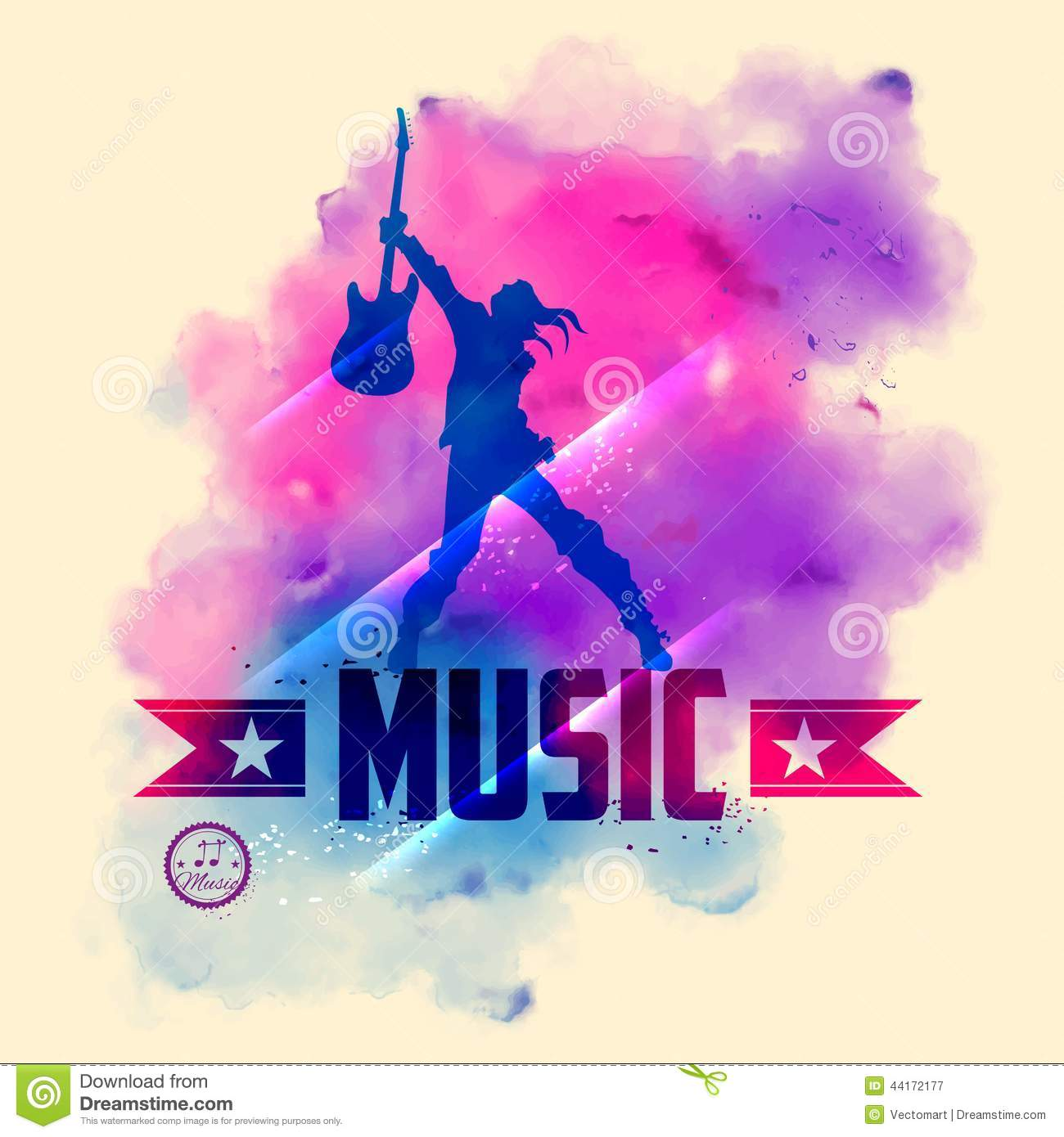 Rock Star With Guitar For Musical Background Stock Vector Illustration Of Musical Posing 44172177