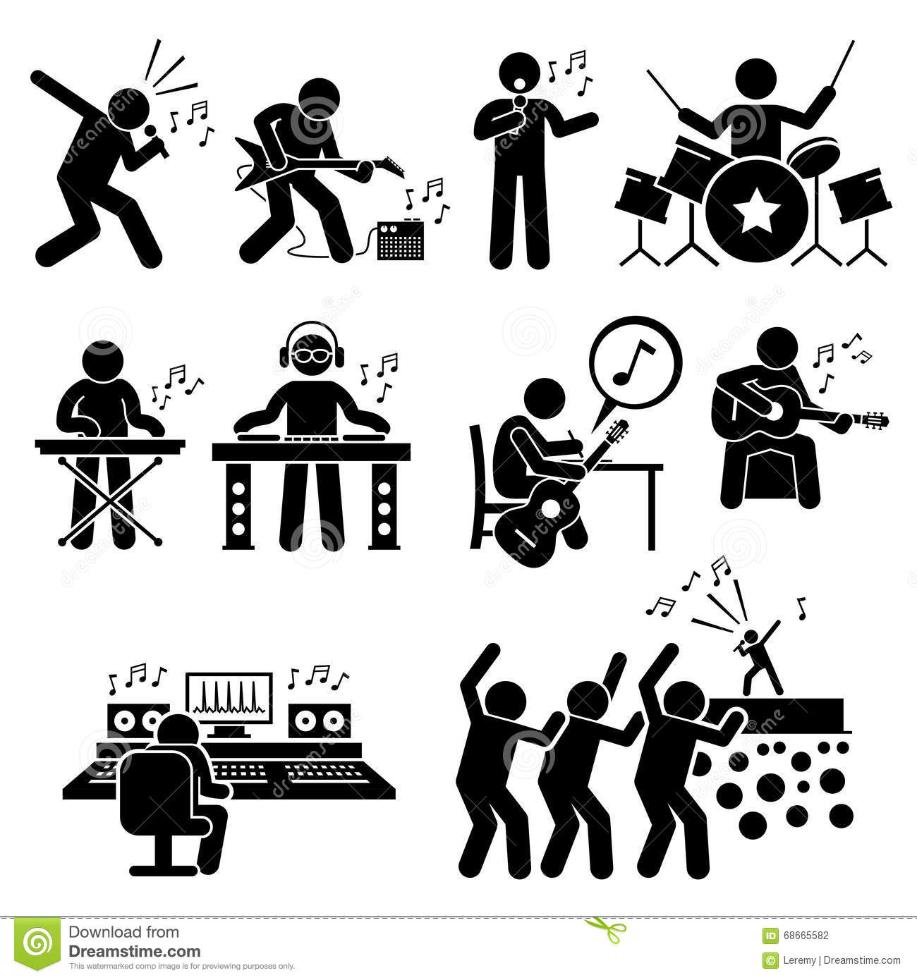 ... Artist With Musical Instruments Clipart Stock Vector - Image: 68665582