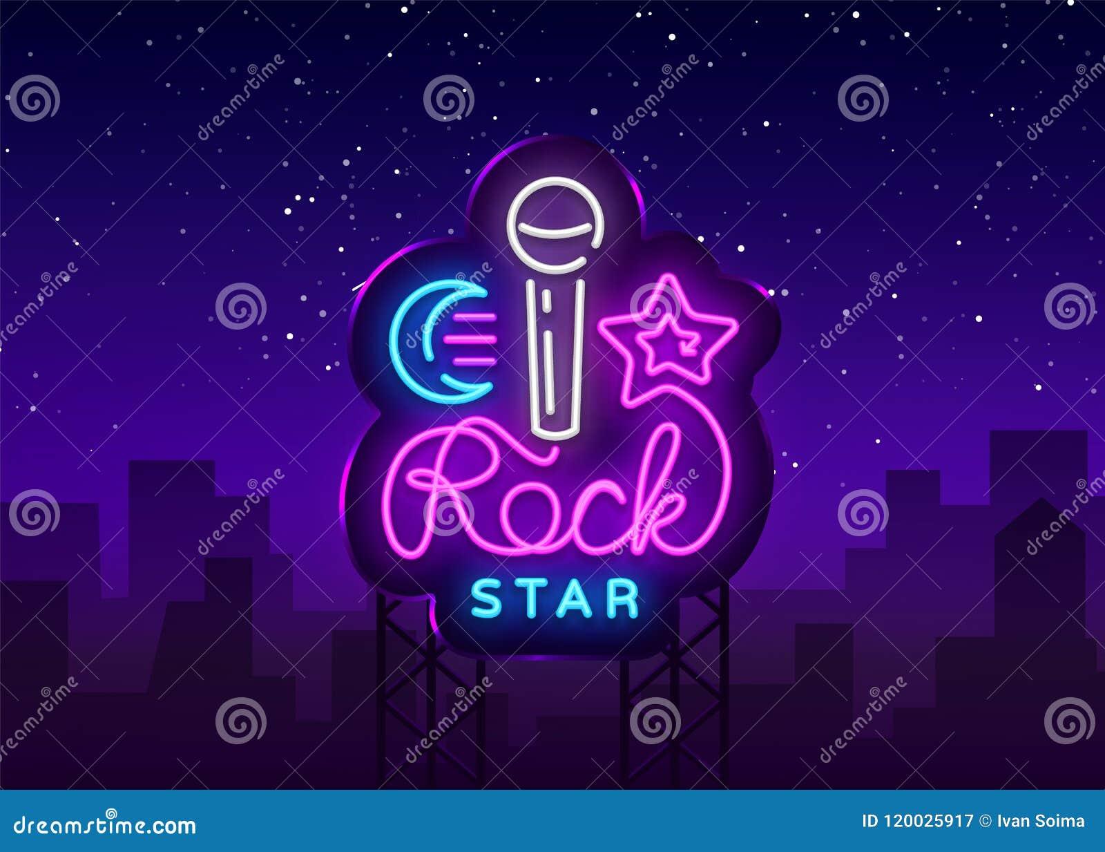 rock star neon sign vector rock star logo vector design template