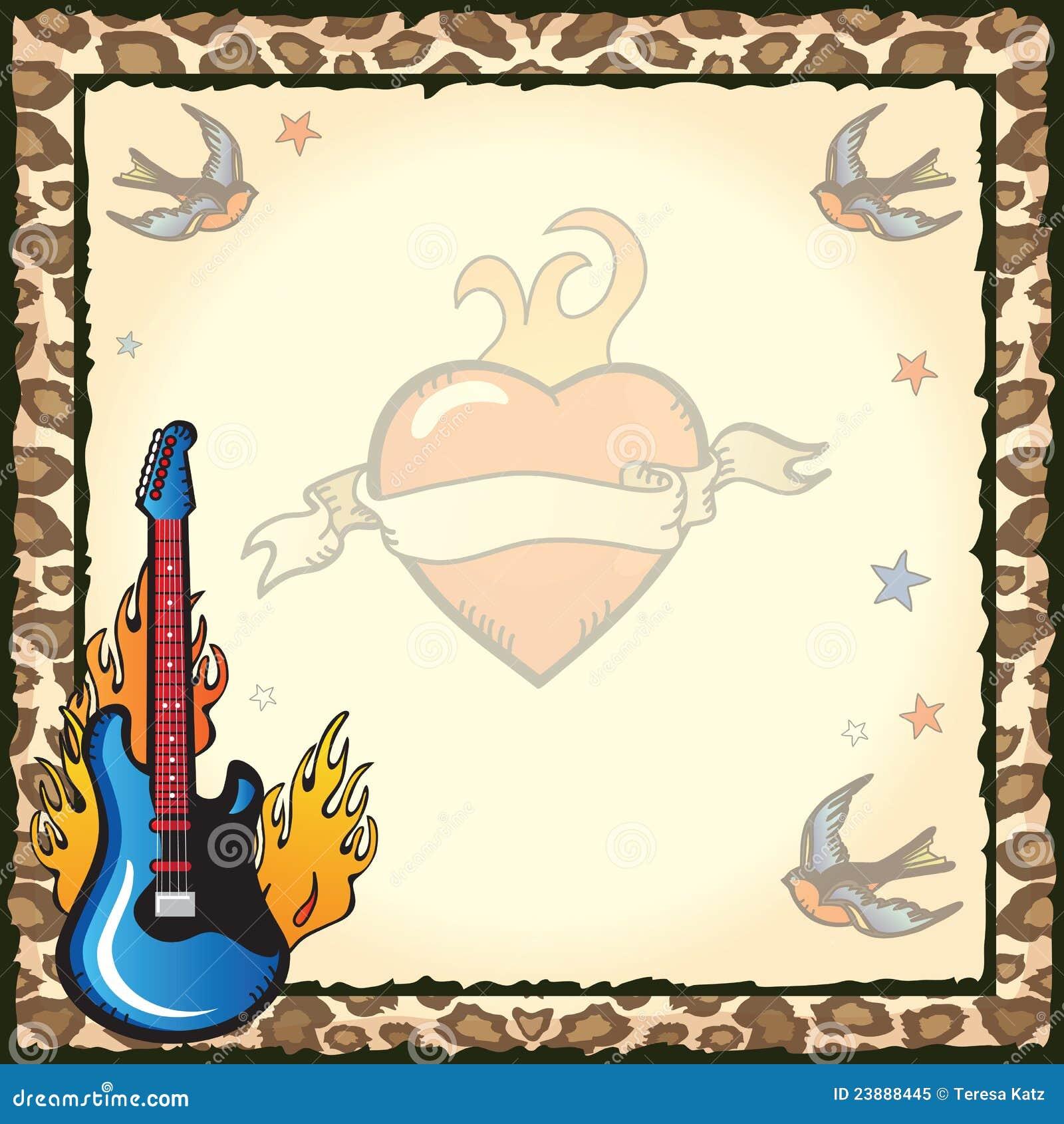 Rock Star Tattoo Party Invitation Stock Vector - Illustration of ...