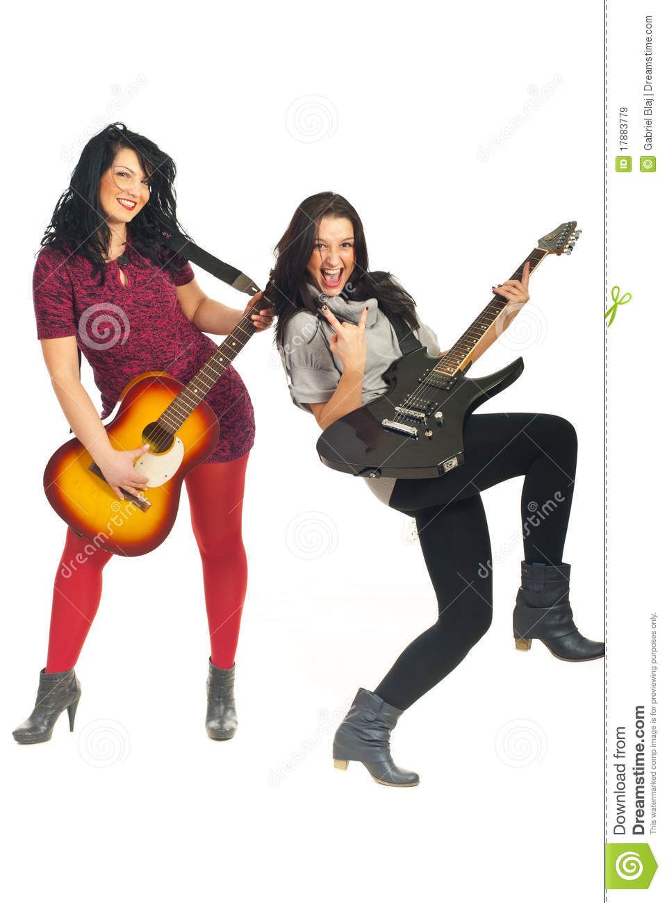 Rock Stars Band Girls With Guitars Royalty Free Stock Images - Image ...