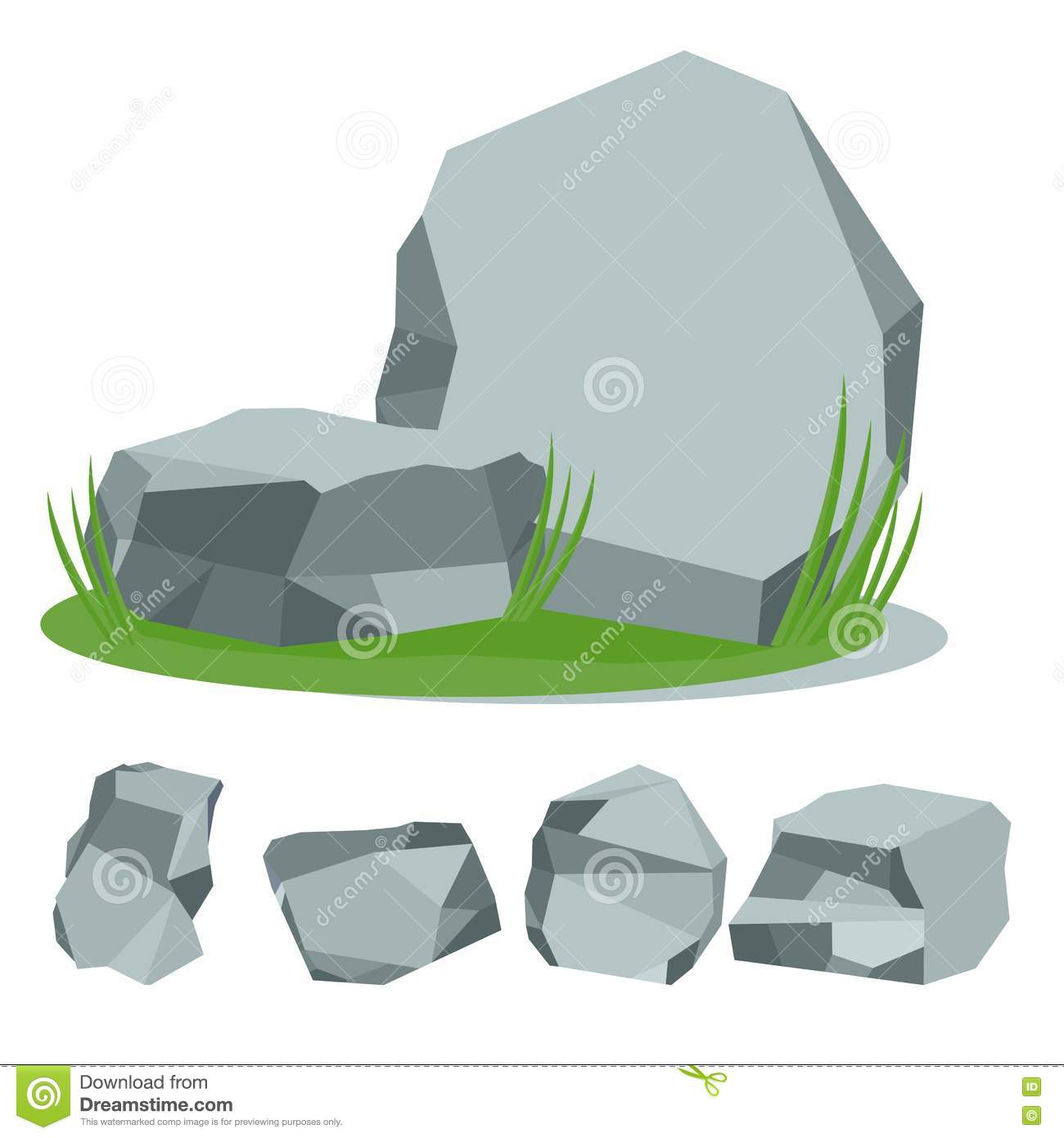 Rock stone with grass