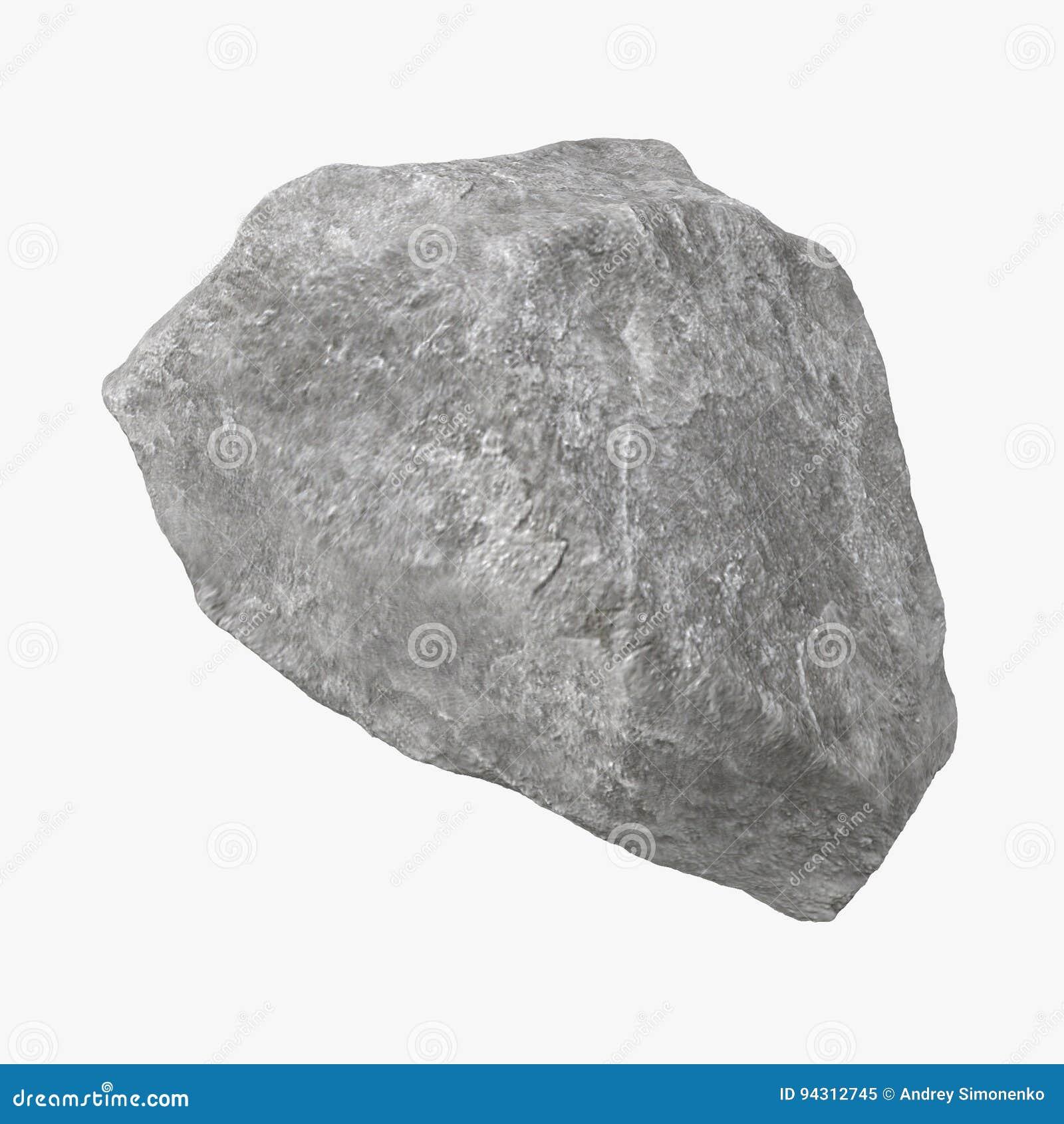 Rock Stone Isolated On White 3d Illustration Stock