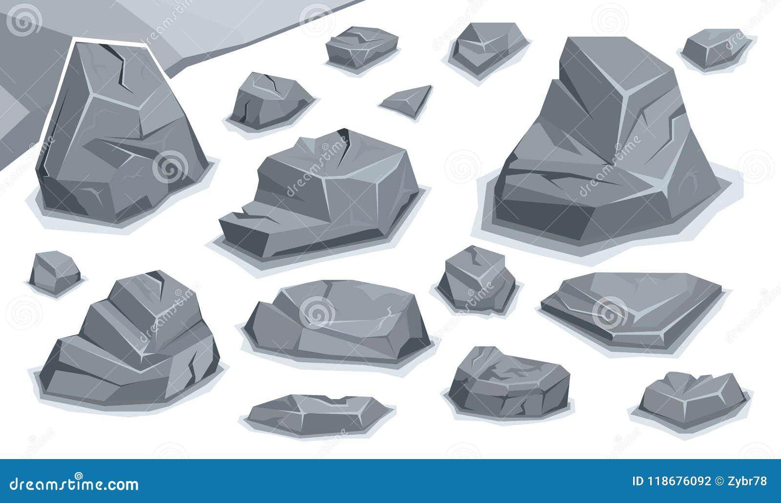 Rock stone set stock vector  Illustration of stone, granite - 118676092