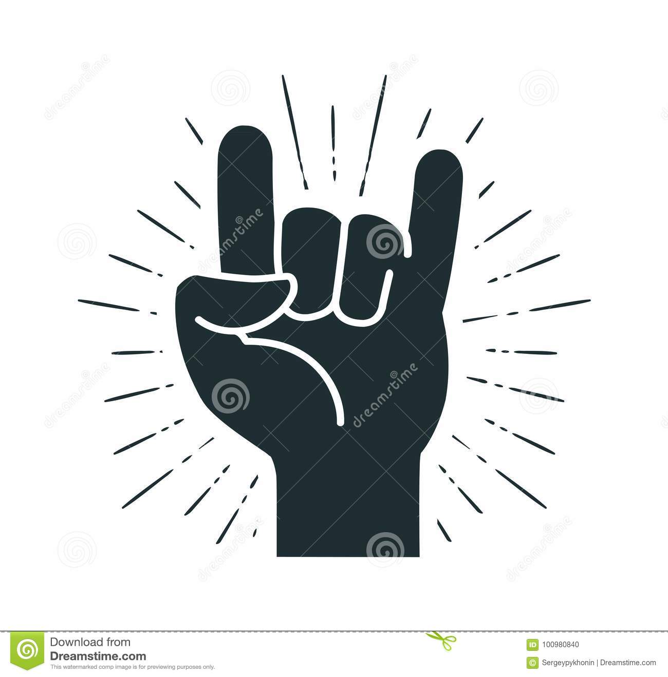 Rock Symbol Hand Gesture Cool Party Respect Communication Icon