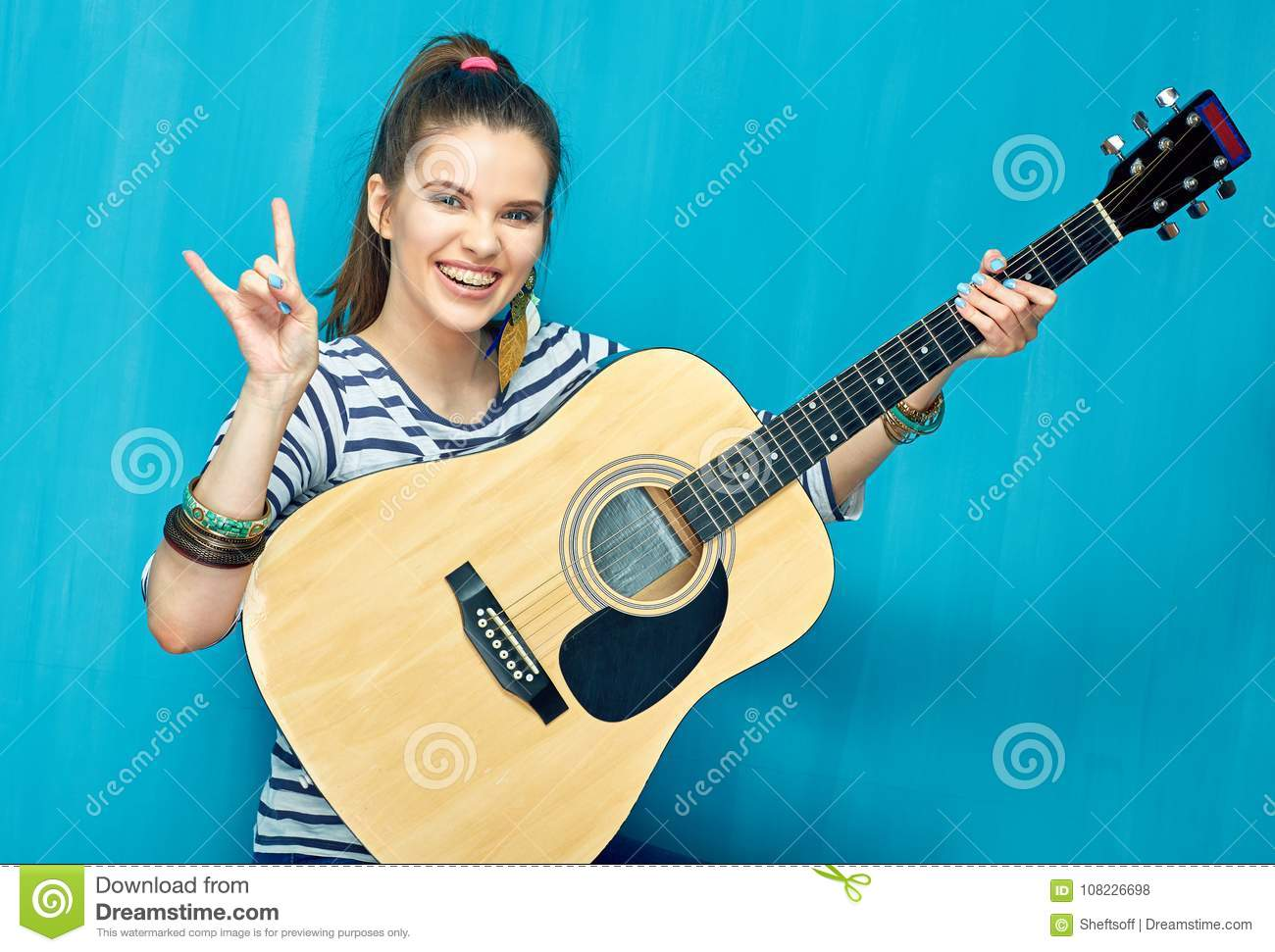 girl guitar stock photos royalty free pictures. Black Bedroom Furniture Sets. Home Design Ideas