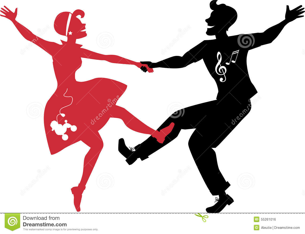 Rockabilly Couple Dancing Silhouette Stock Vector Image