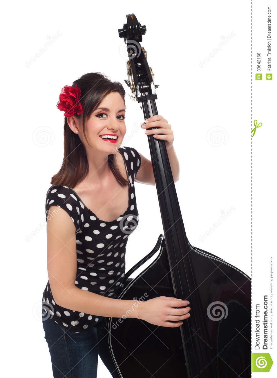 Rockabilly Girl Playing A Stand Up Bass Royalty Free Stock