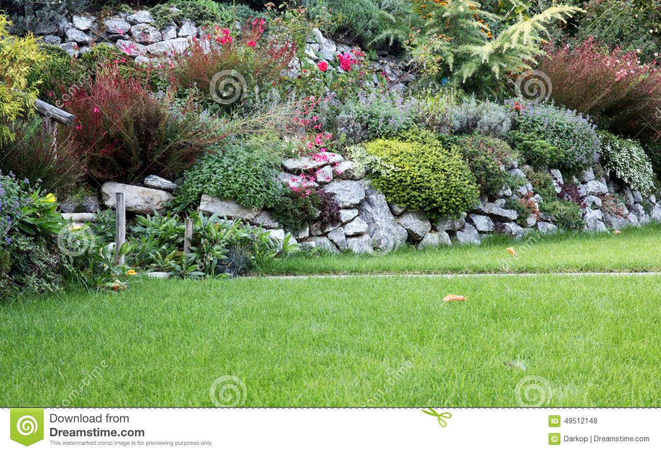 Rockery garden stock photo image 49512148 - The well tended perennial garden ...