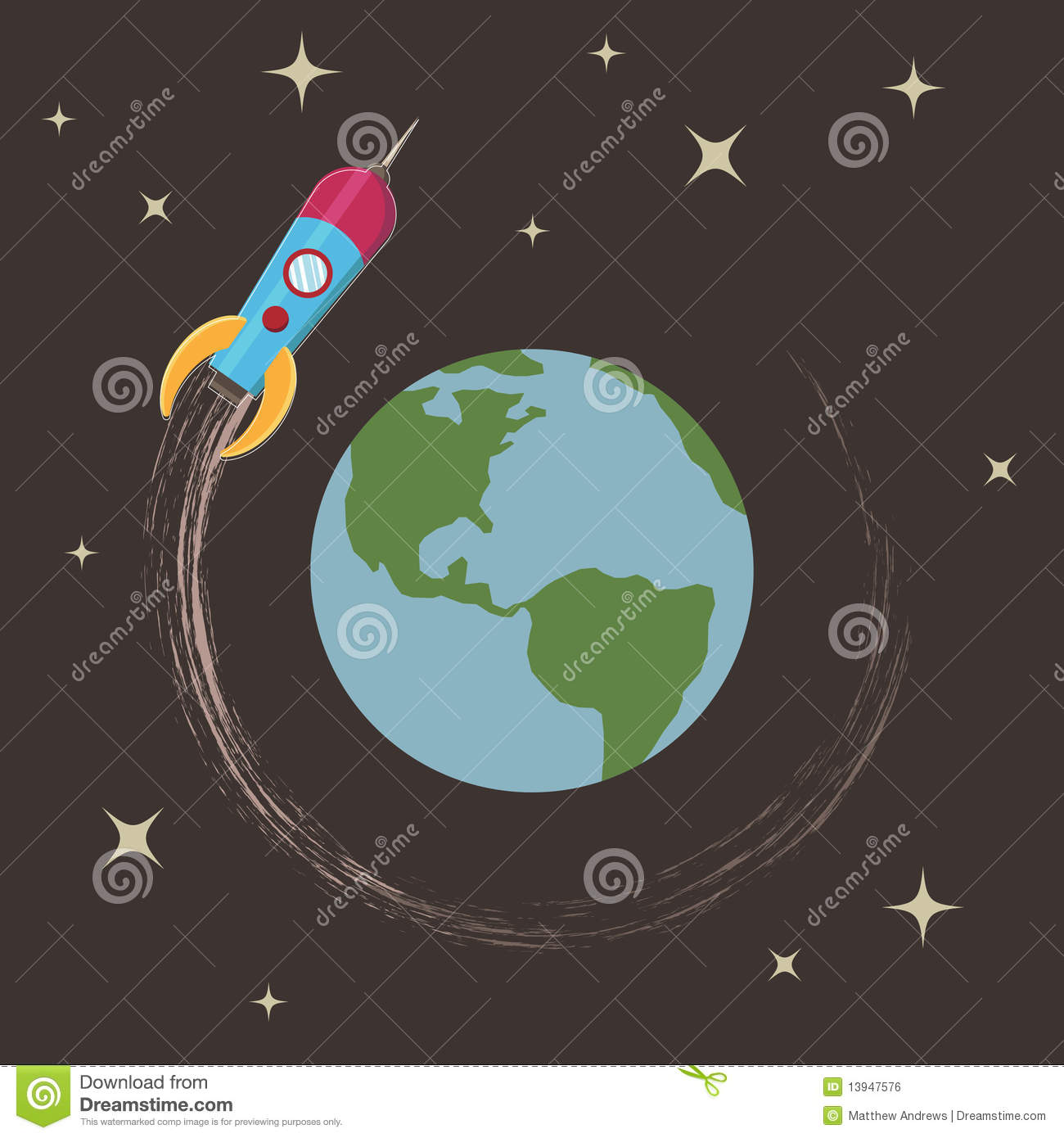 Rocket Around The Earth Royalty Free Stock Image Image