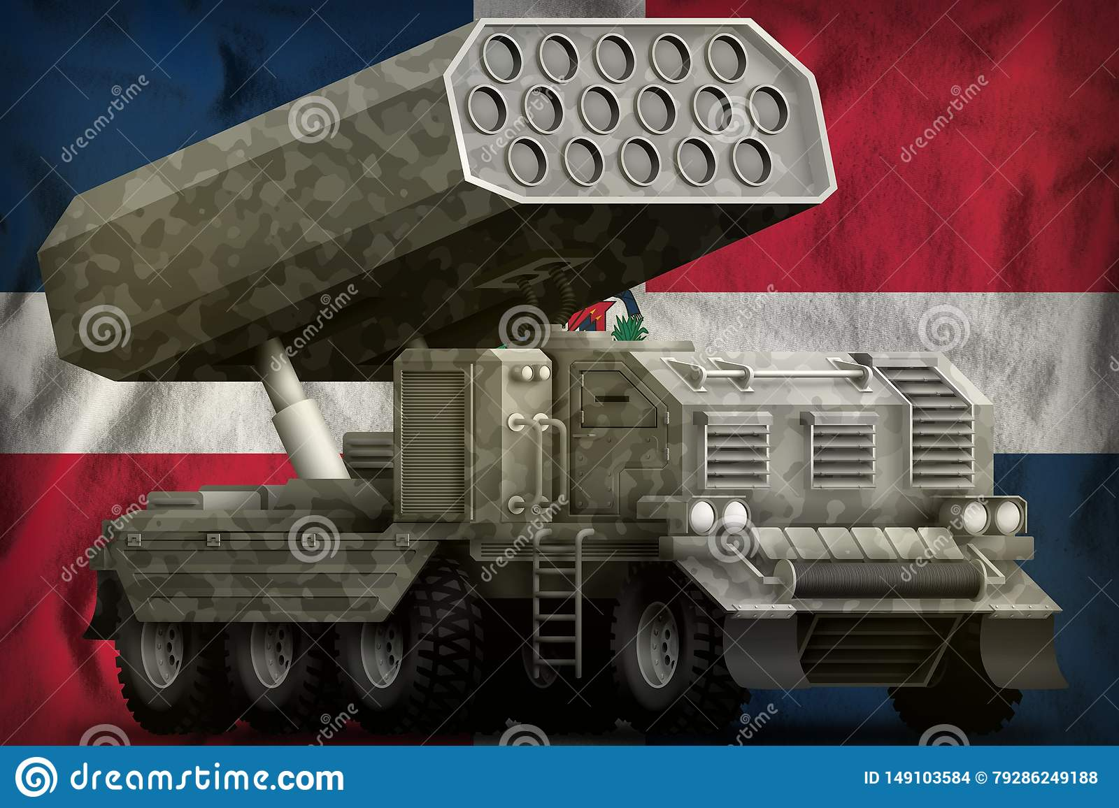 Rocket artillery, missile launcher with grey camouflage on the Dominican Republic national flag background. 3d Illustration